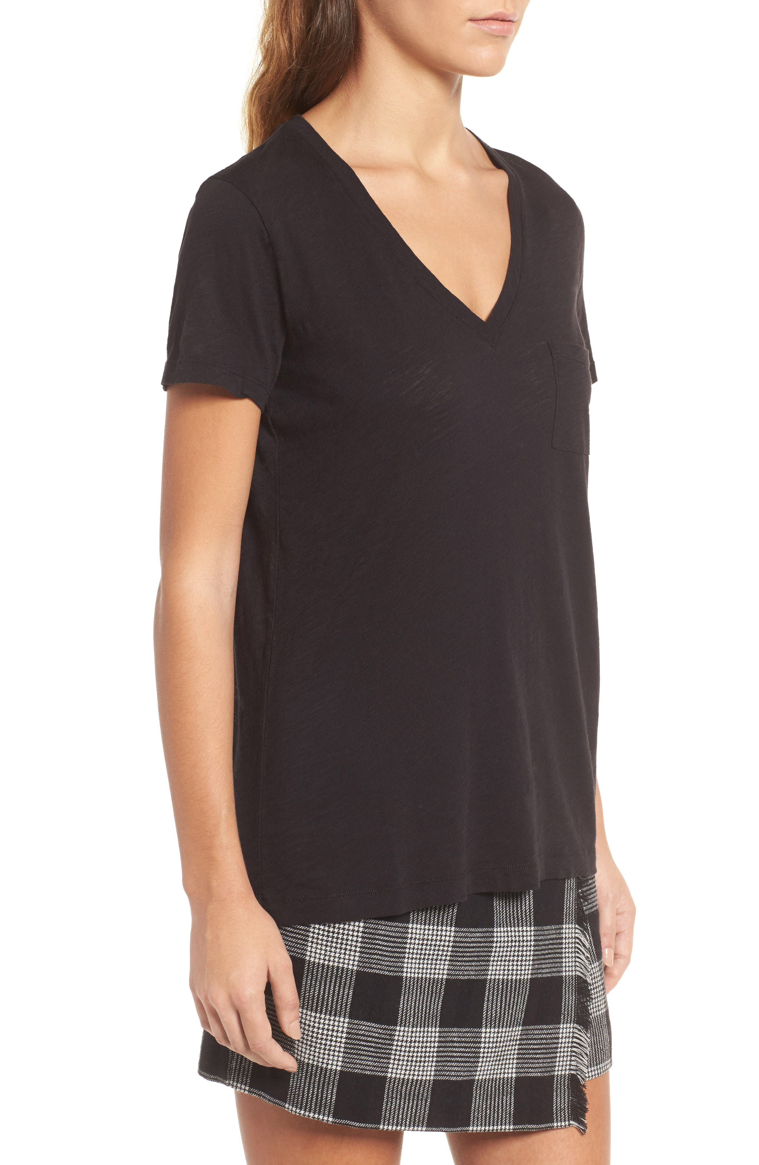 Whisper Cotton V-Neck Pocket Tee,                             Alternate thumbnail 91, color,