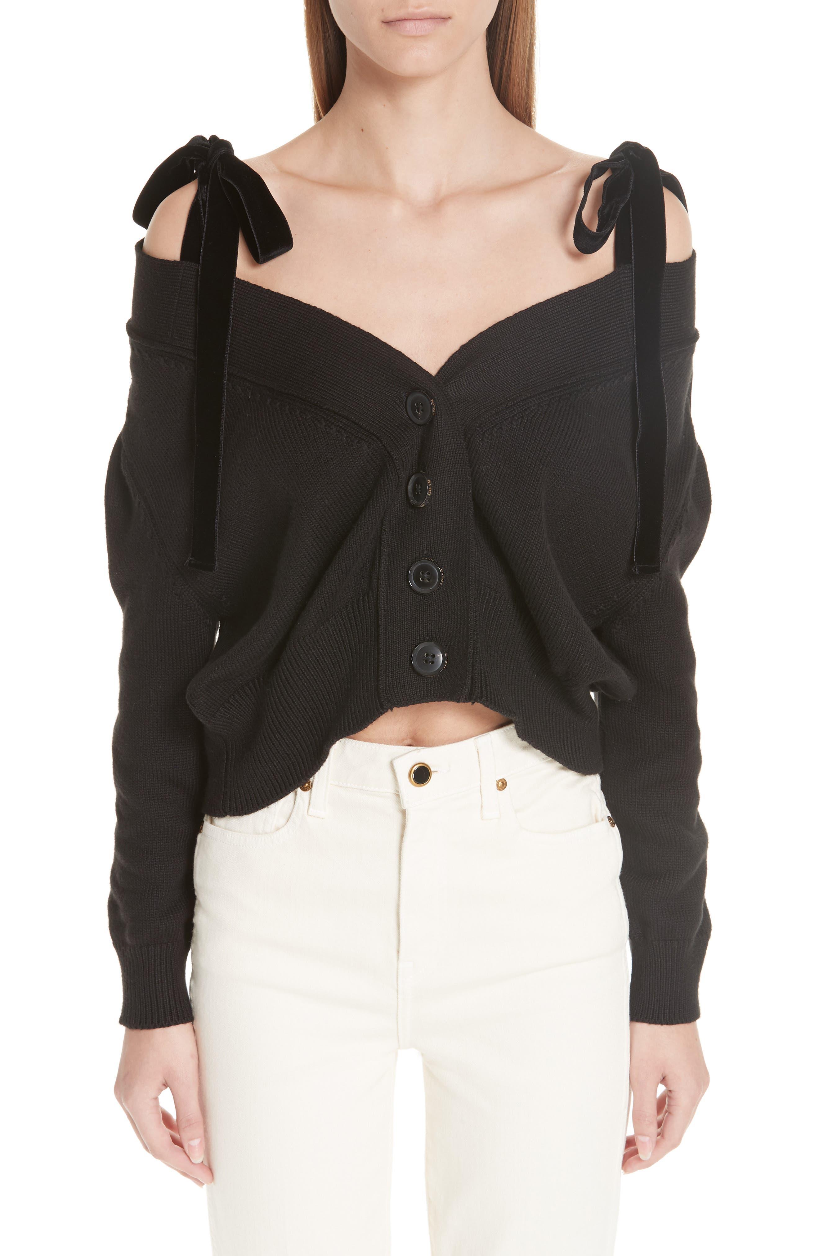 ADEAM Velvet Tie Off The Shoulder Button Cardigan in Black