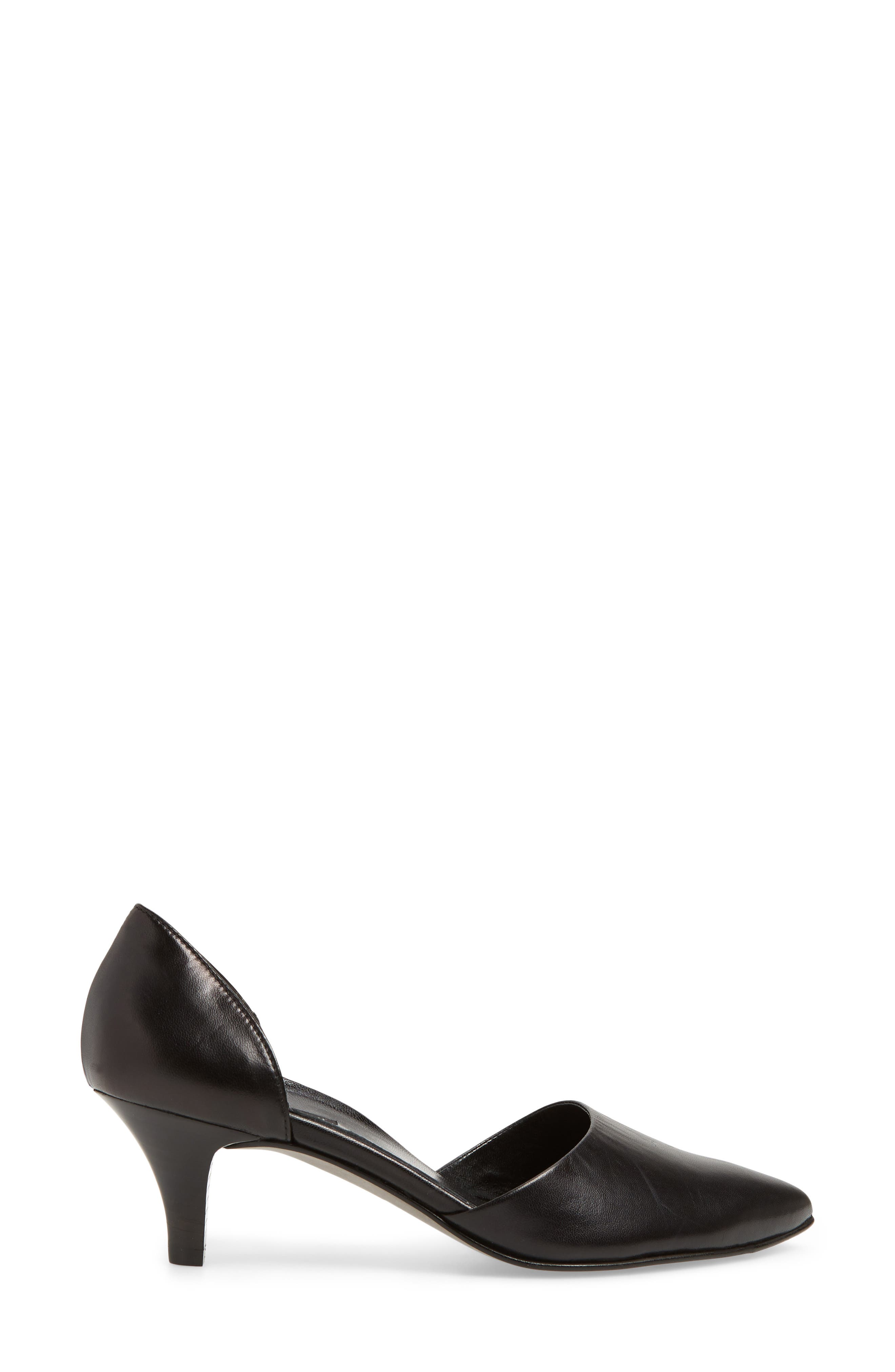 Shey Pointy Toe Pump,                             Alternate thumbnail 3, color,                             BLACK LEATHER
