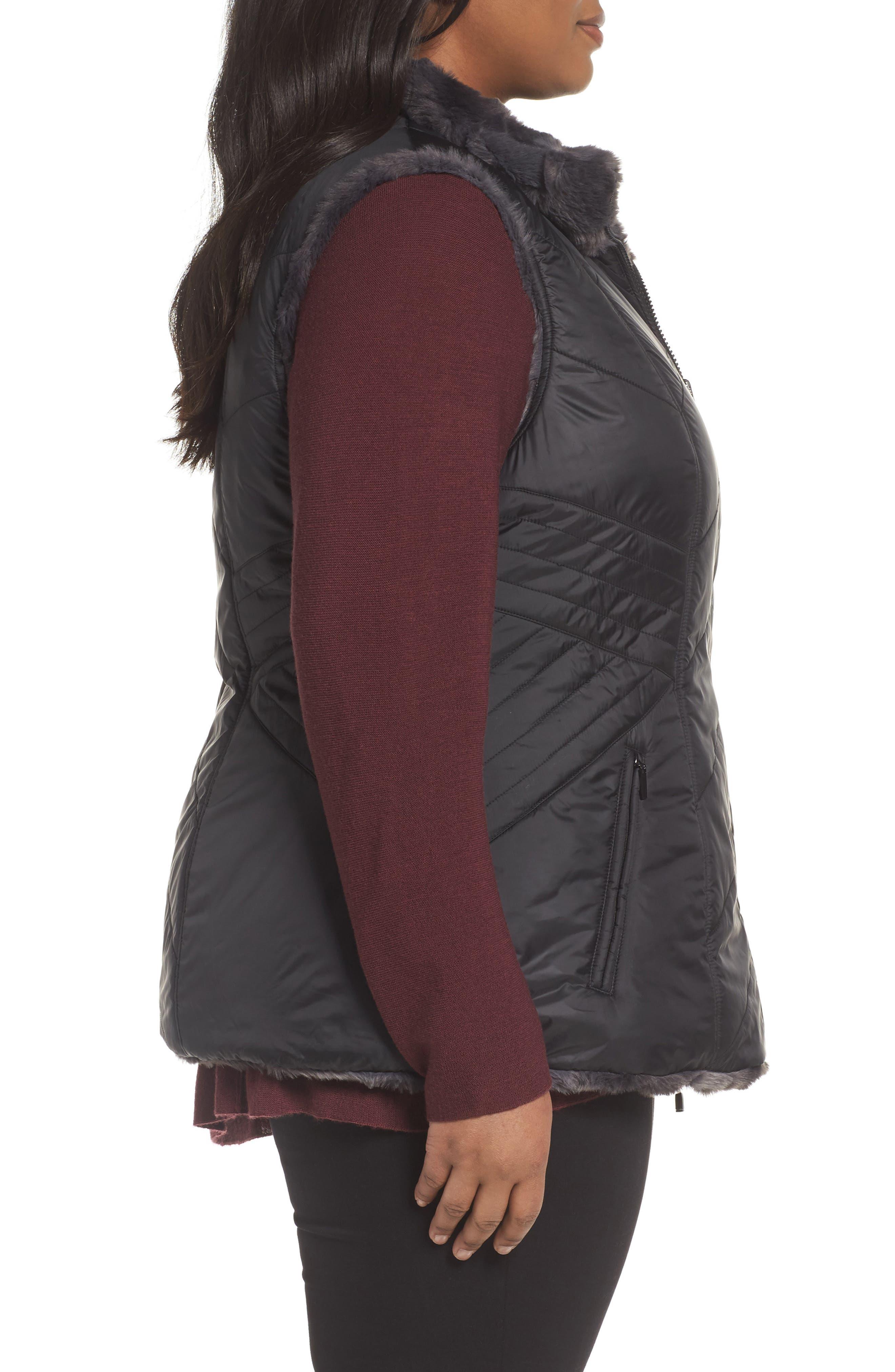 Reversible Faux Fur Vest,                             Alternate thumbnail 3, color,                             001