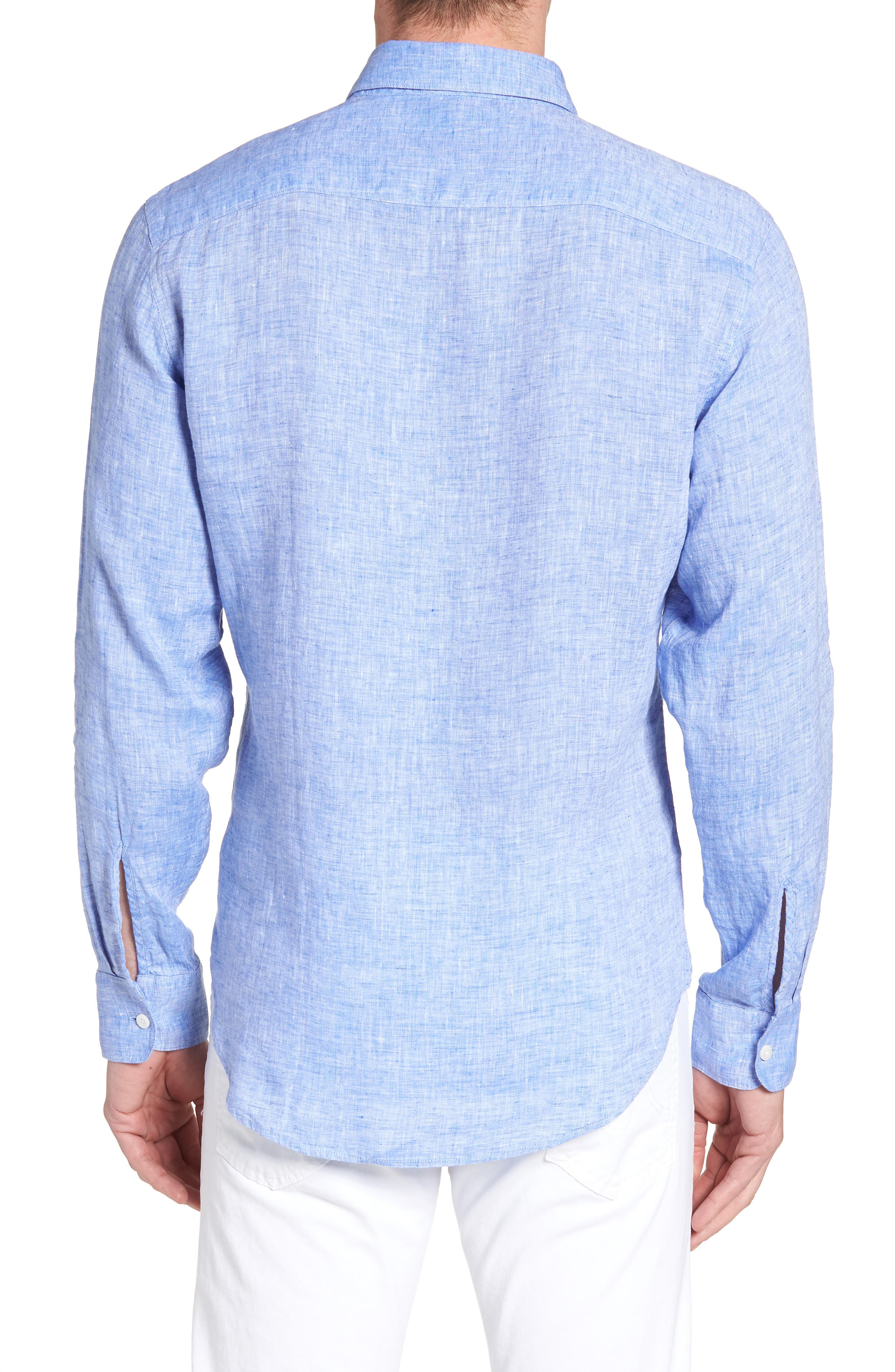 Regular Fit Solid Linen Sport Shirt,                             Alternate thumbnail 4, color,