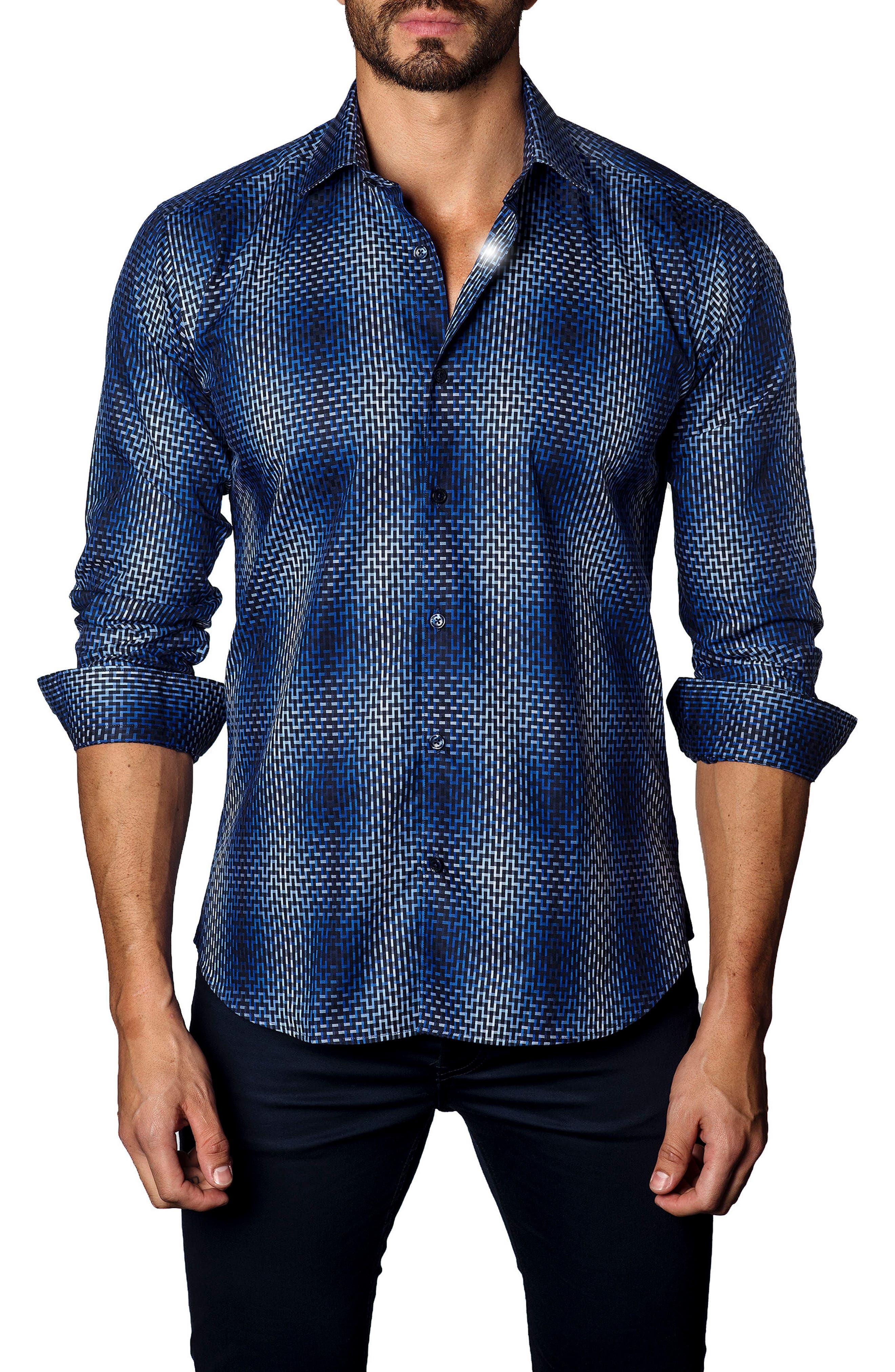 Trim Fit Ombré Plaid Sport Shirt,                         Main,                         color, 400