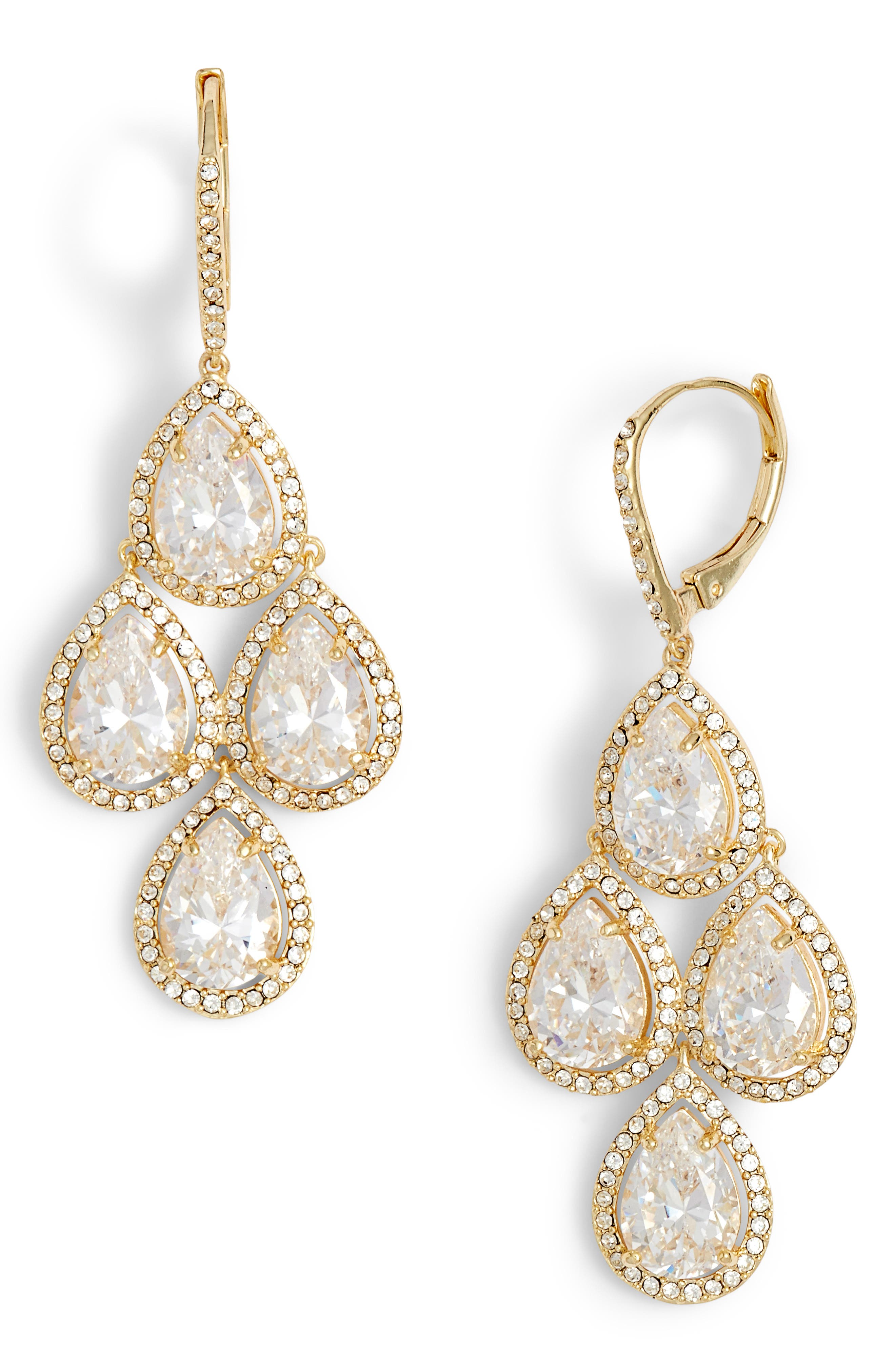 Crystal Chandelier Earrings,                             Main thumbnail 1, color,                             CLEAR- GOLD