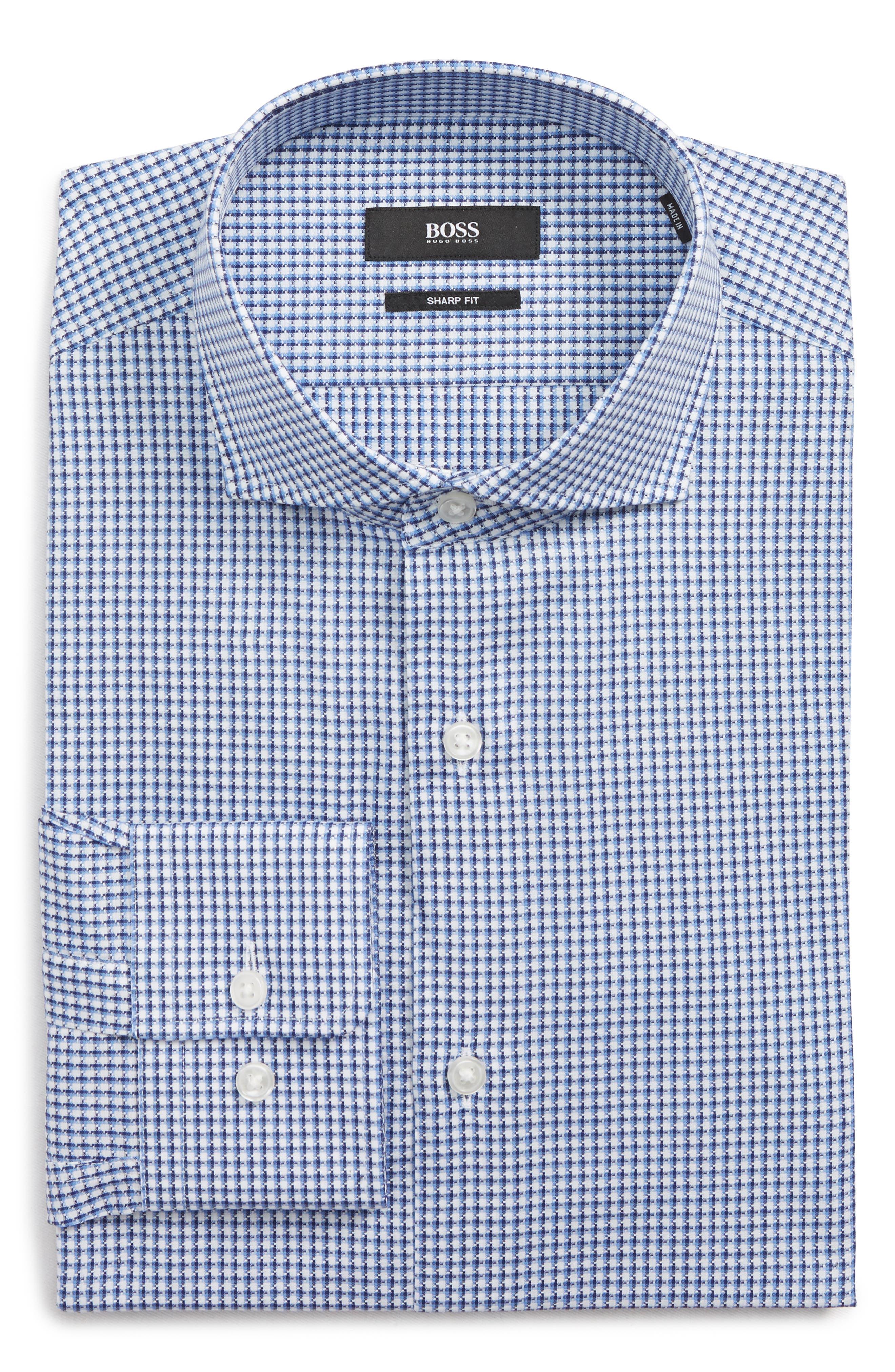 Mark Sharp Fit Check Dress Shirt,                             Alternate thumbnail 5, color,                             BLUE