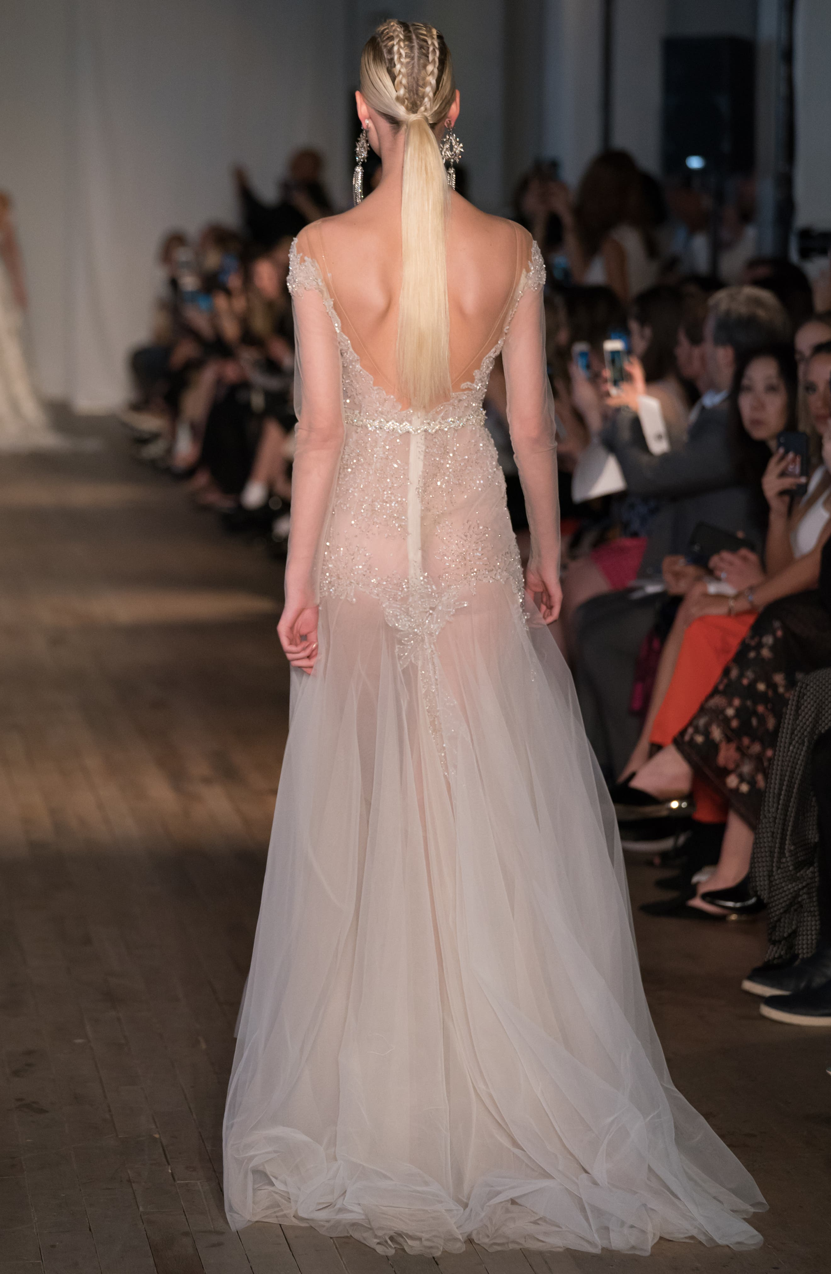 Off the Shoulder Tulle Mermaid Gown,                             Alternate thumbnail 2, color,                             IVORY