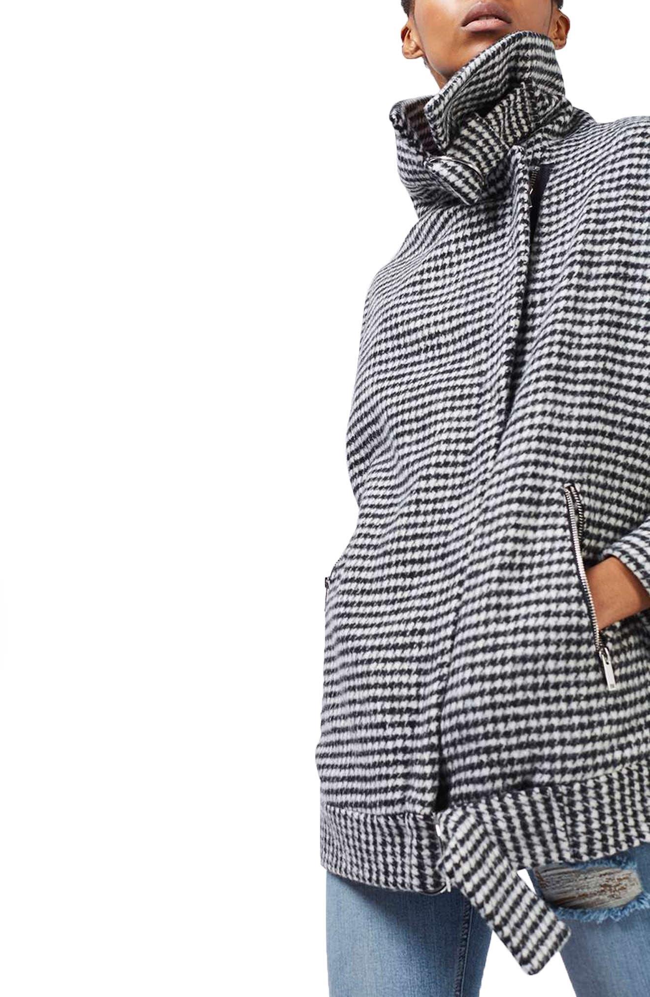 Funnel Neck Houndstooth Coat, Main, color, 001