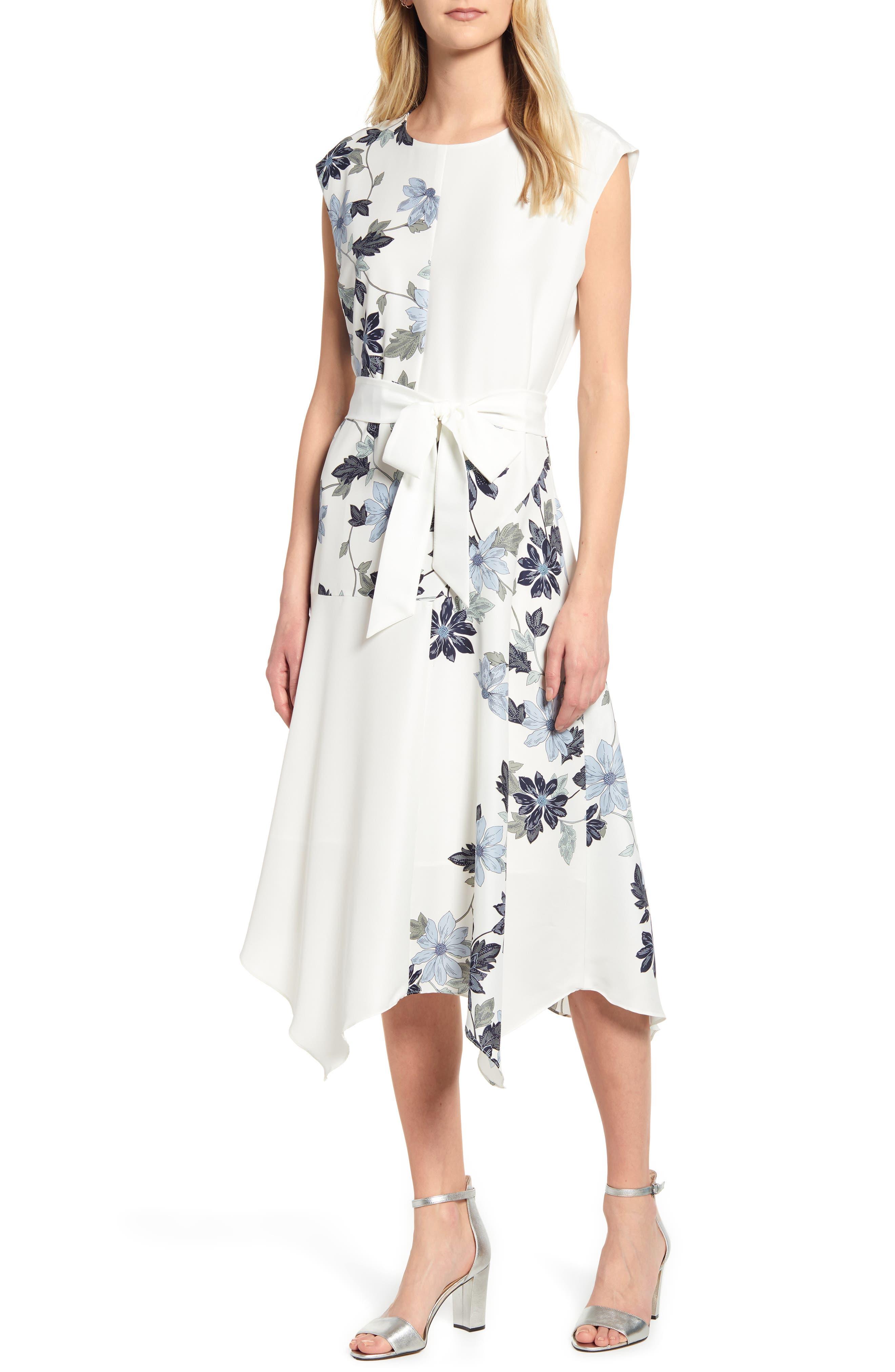 Vince Camuto Floral Vines Belted Dress, Ivory