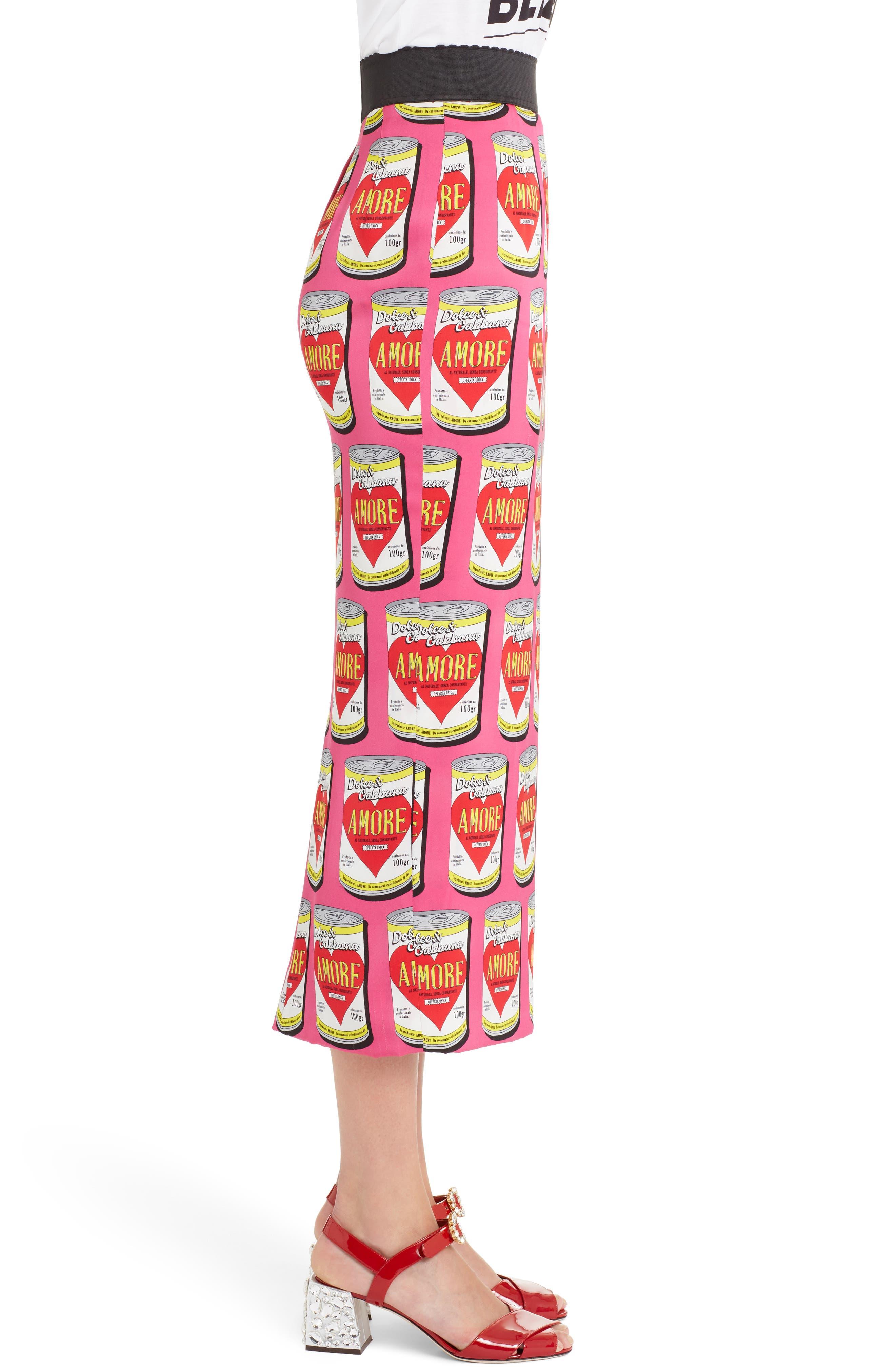Can Print Silk Blend Charmeuse Pencil Skirt,                             Alternate thumbnail 3, color,                             651