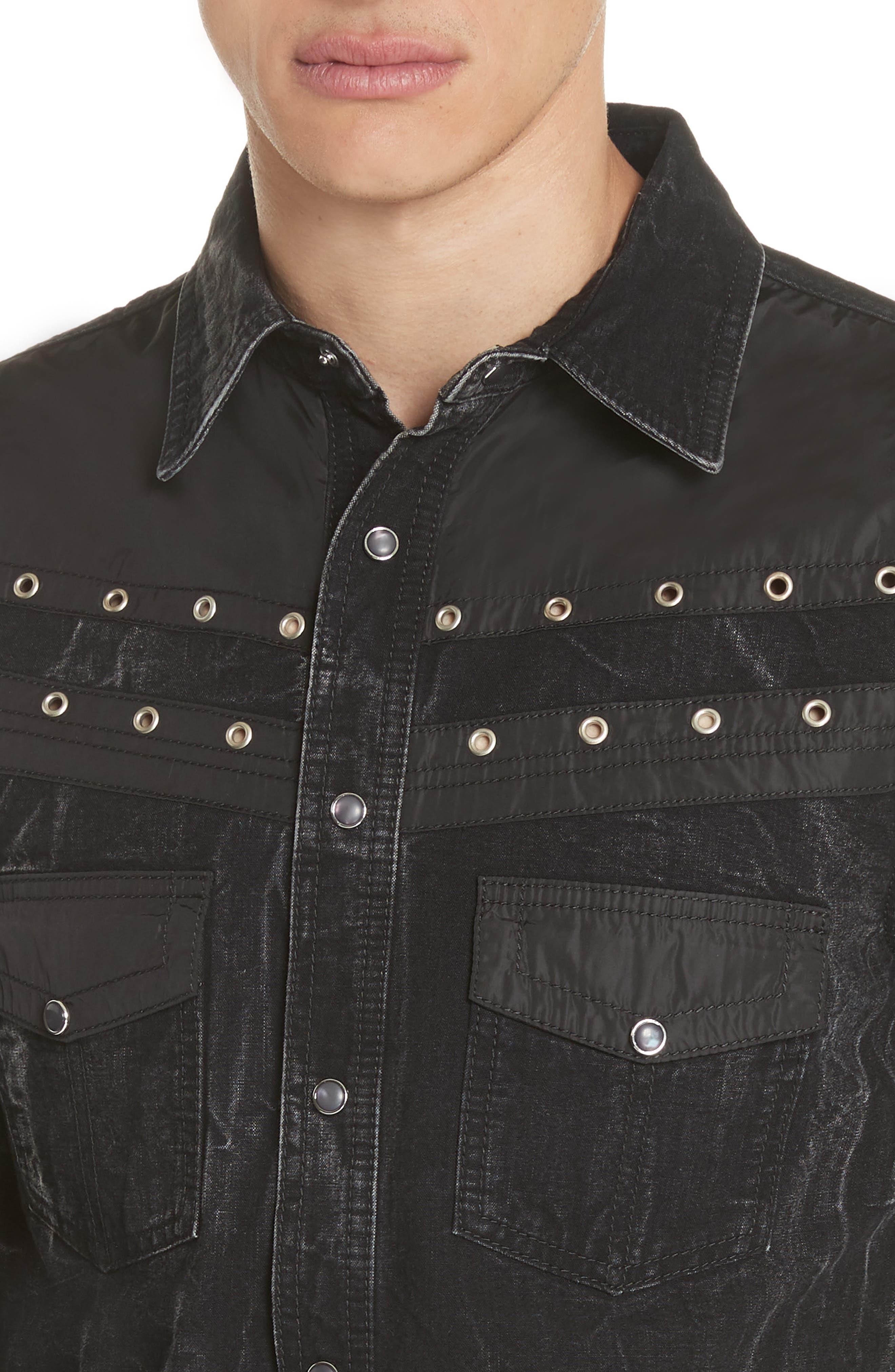 Denim Shirt,                             Alternate thumbnail 4, color,                             BLACK/ GREY