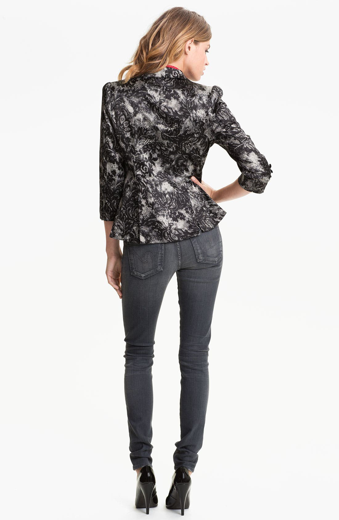 Lace Print Blazer,                             Alternate thumbnail 4, color,                             001