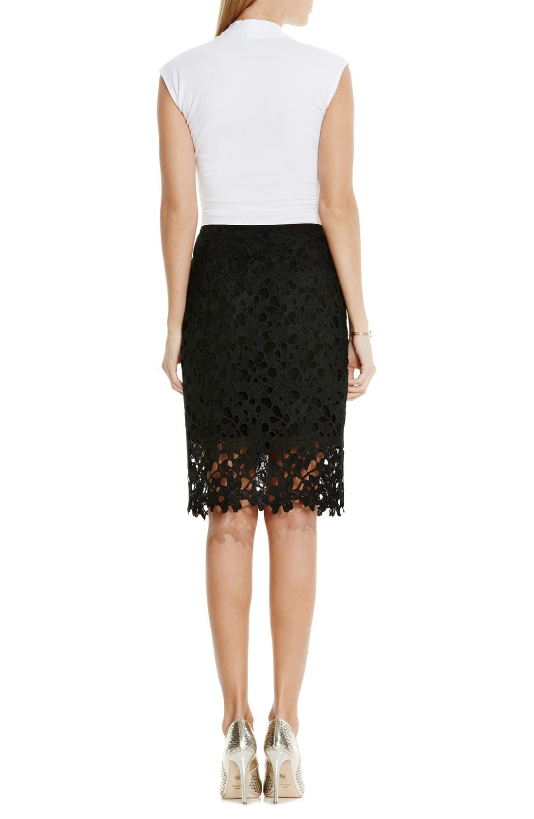 Floral Lace Pencil Skirt,                             Alternate thumbnail 3, color,                             001
