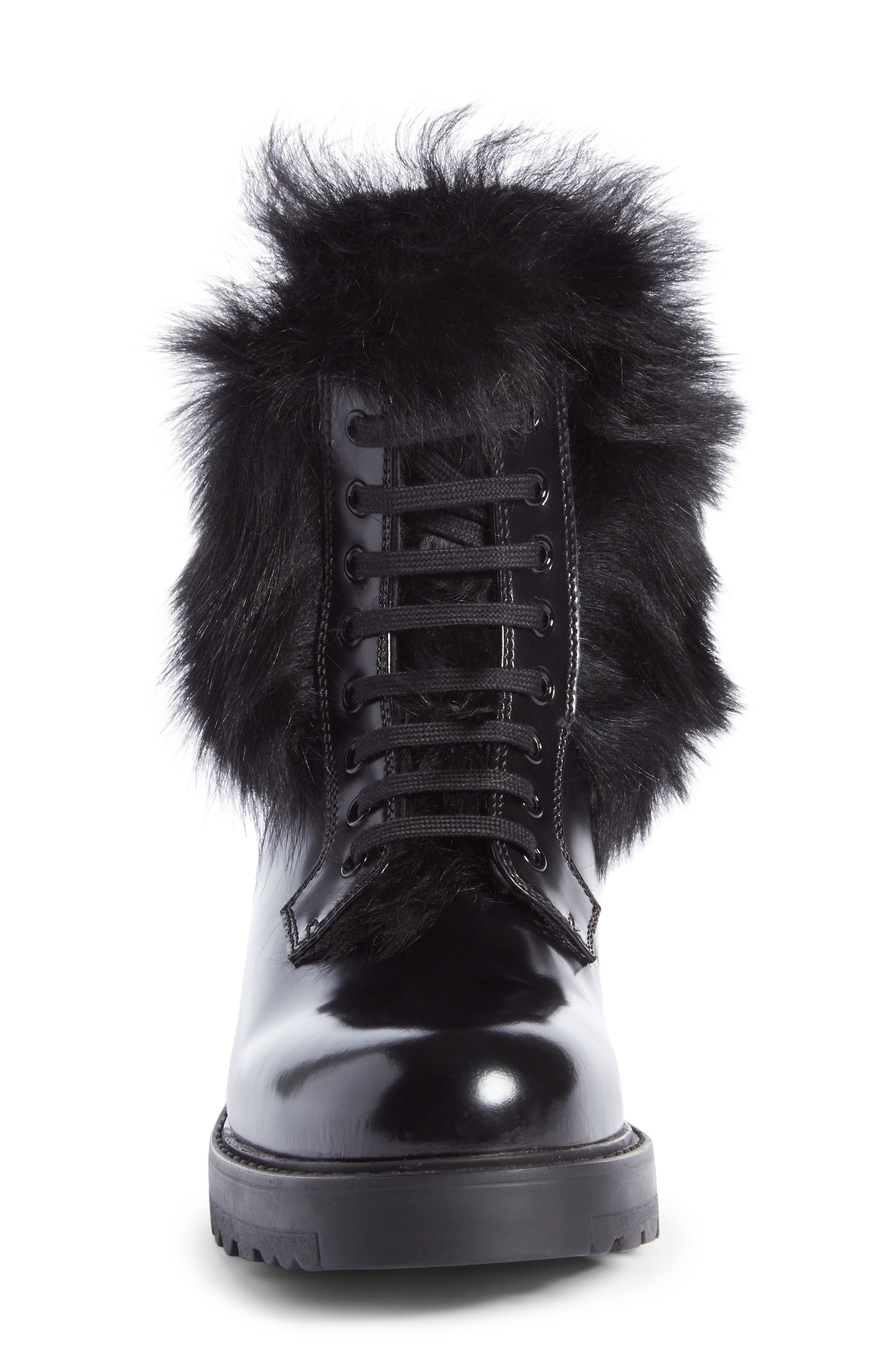 Genuine Shearling Lined Boot,                             Alternate thumbnail 4, color,                             001