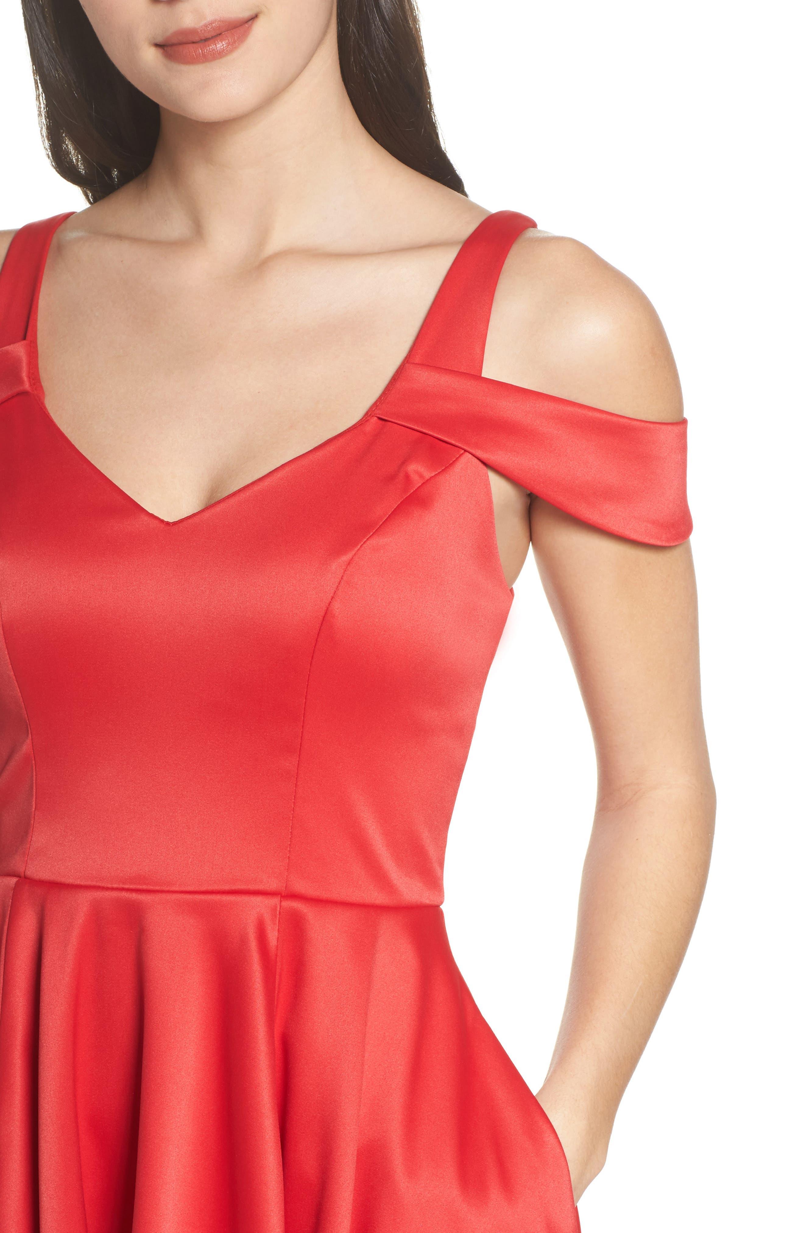 Cold Shoulder High/Low Gown,                             Alternate thumbnail 4, color,                             611
