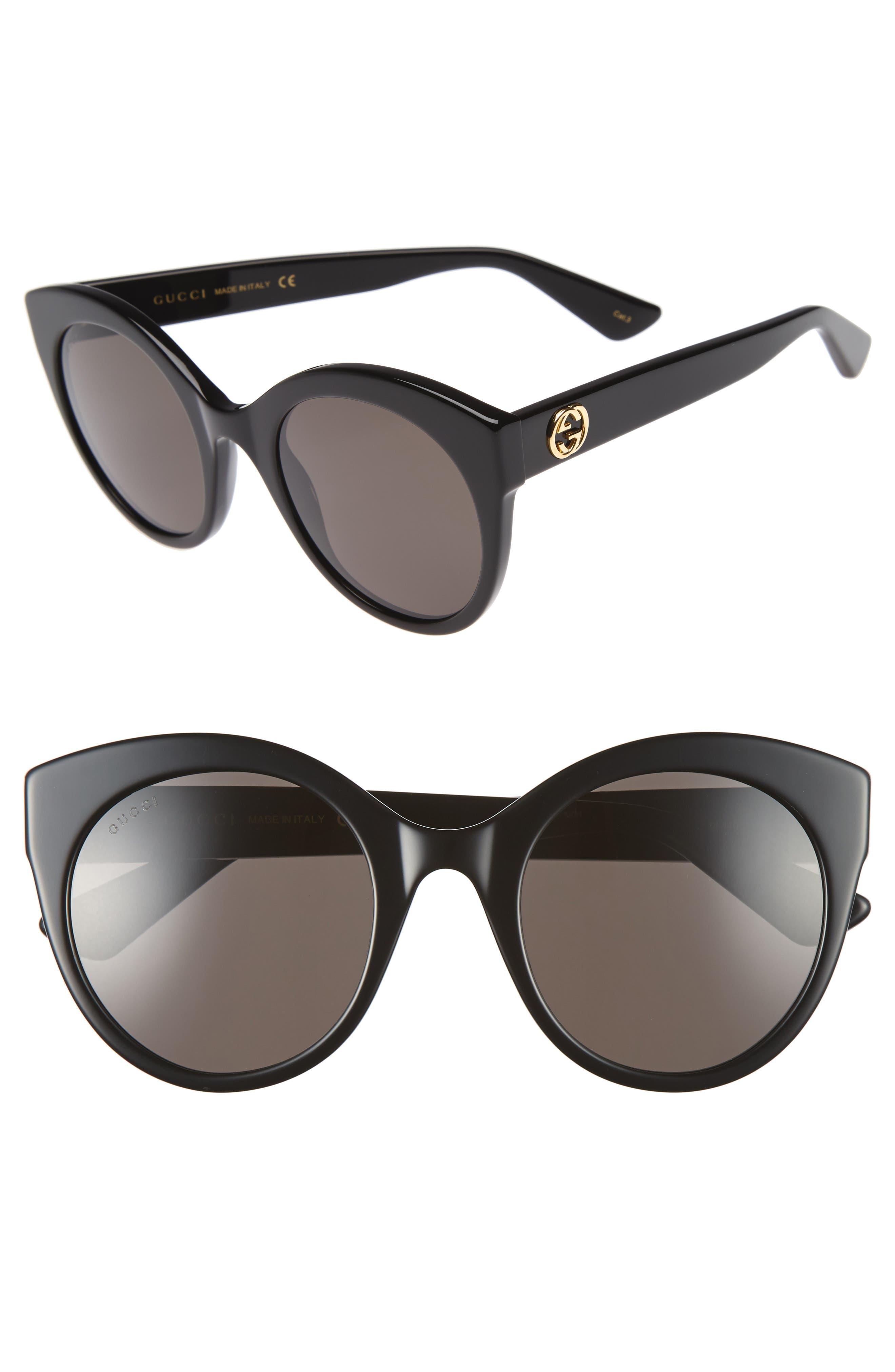52mm Cat Eye Sunglasses,                             Main thumbnail 1, color,                             001