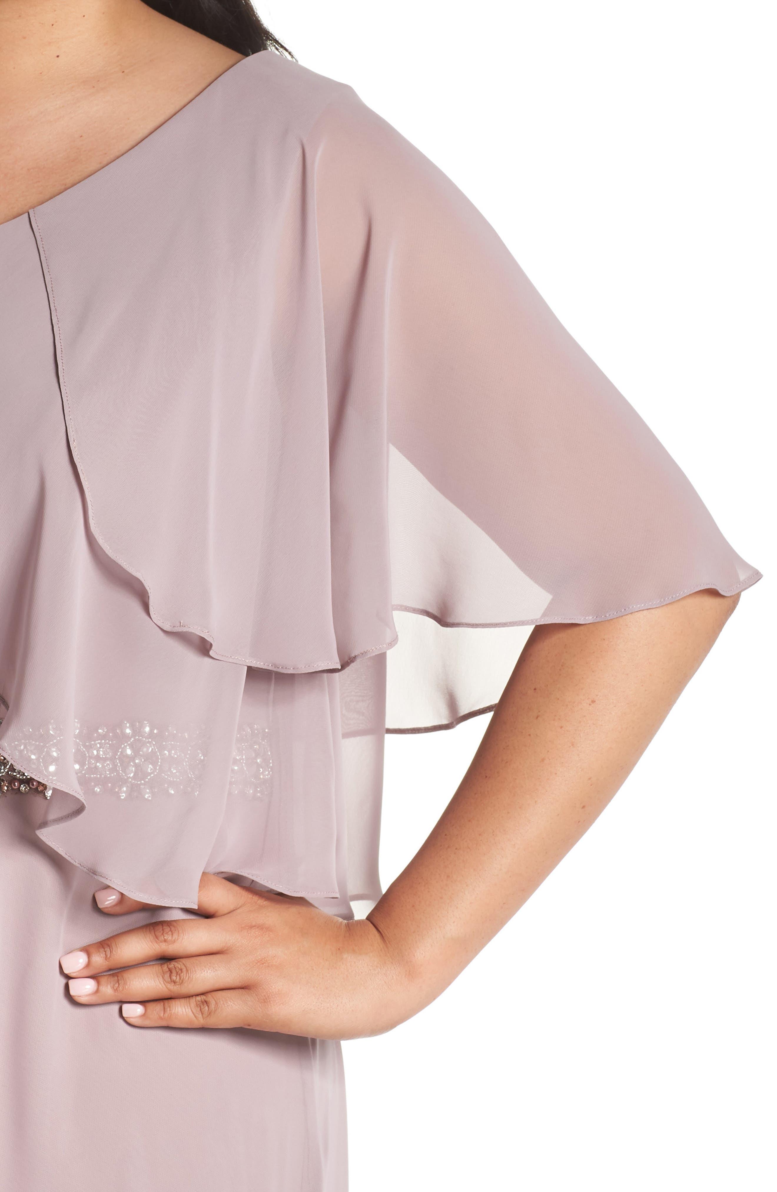 Embellished Waist Flutter Dress,                             Alternate thumbnail 4, color,                             680