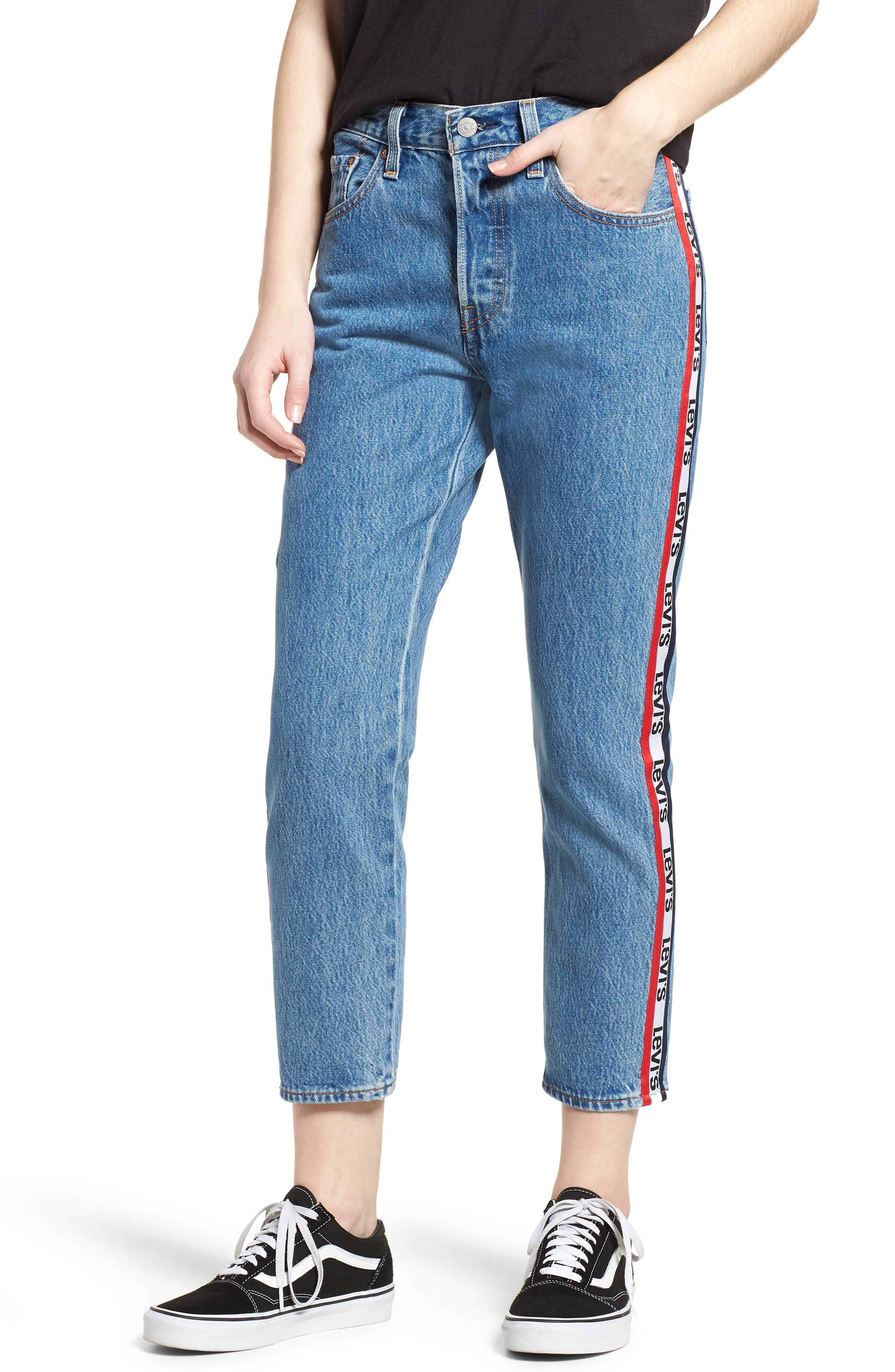 501 High Waist Crop Jeans,                         Main,                         color, SPECTATOR SPORT