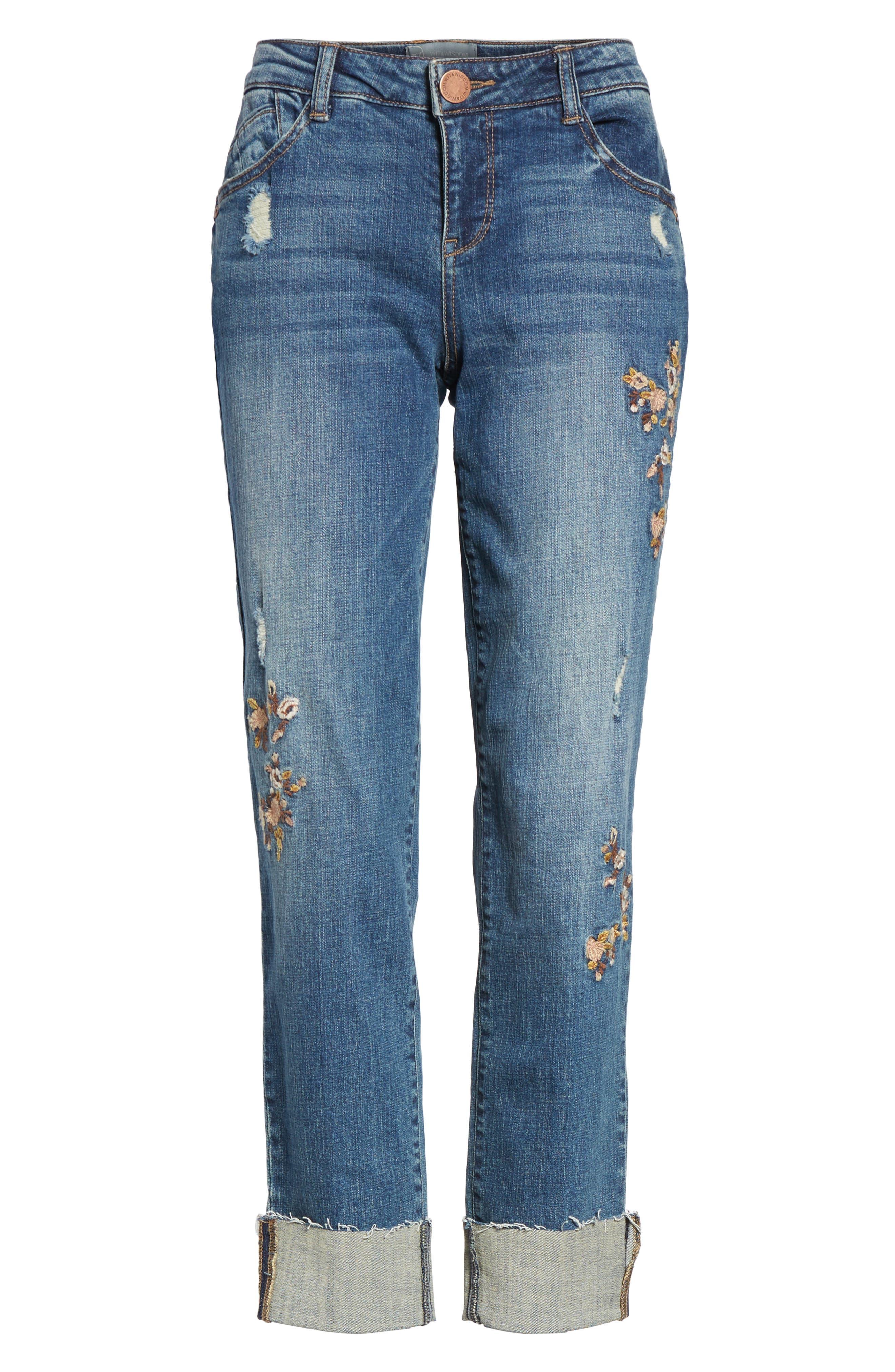Flex-ellent Embroidered Boyfriend Jeans,                             Alternate thumbnail 6, color,                             420