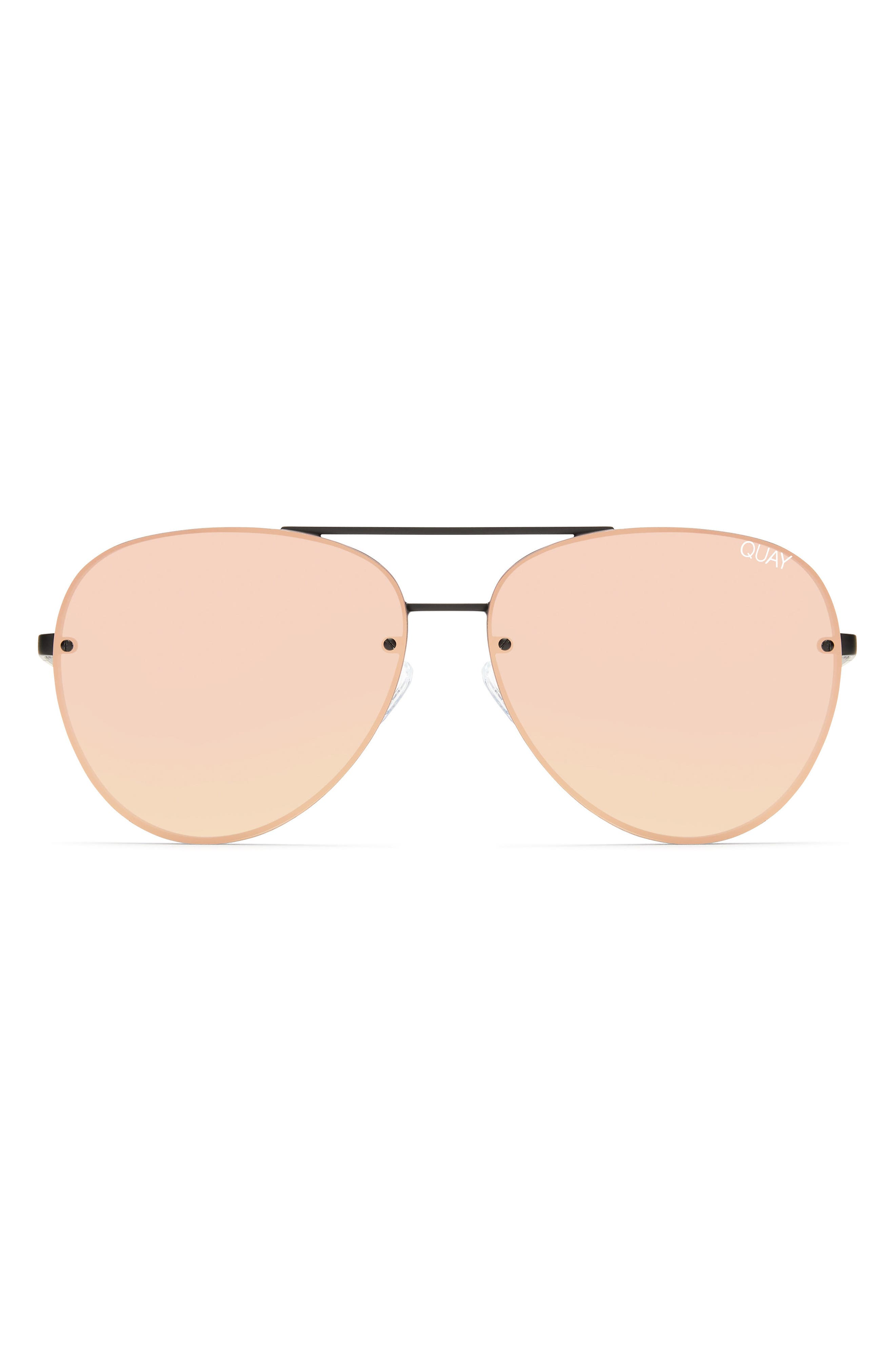 x Missguided Cool Innit 56mm Aviator Sunglasses,                             Alternate thumbnail 4, color,                             001