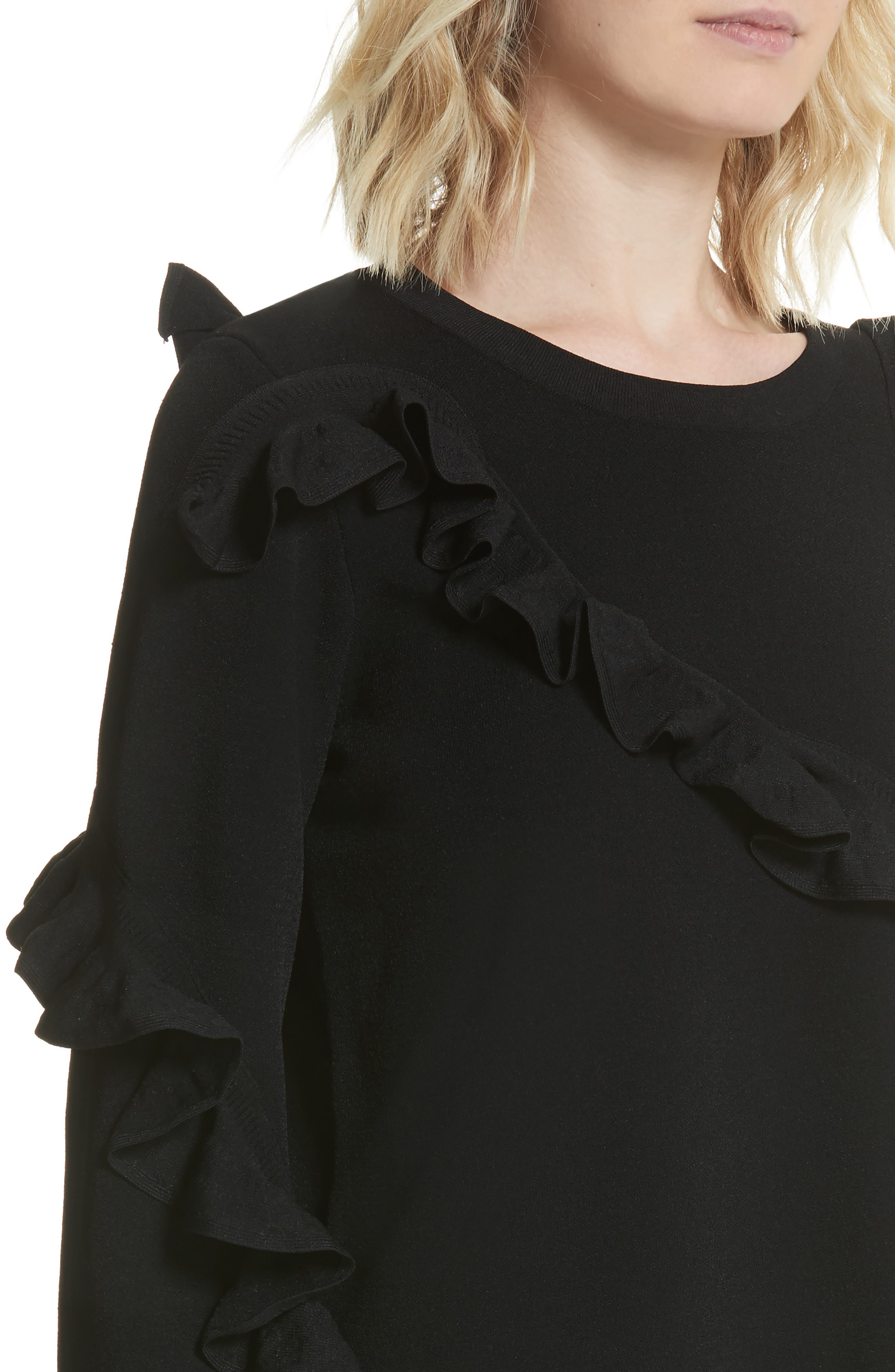 Abstract Ruffle Pullover,                             Alternate thumbnail 4, color,                             001
