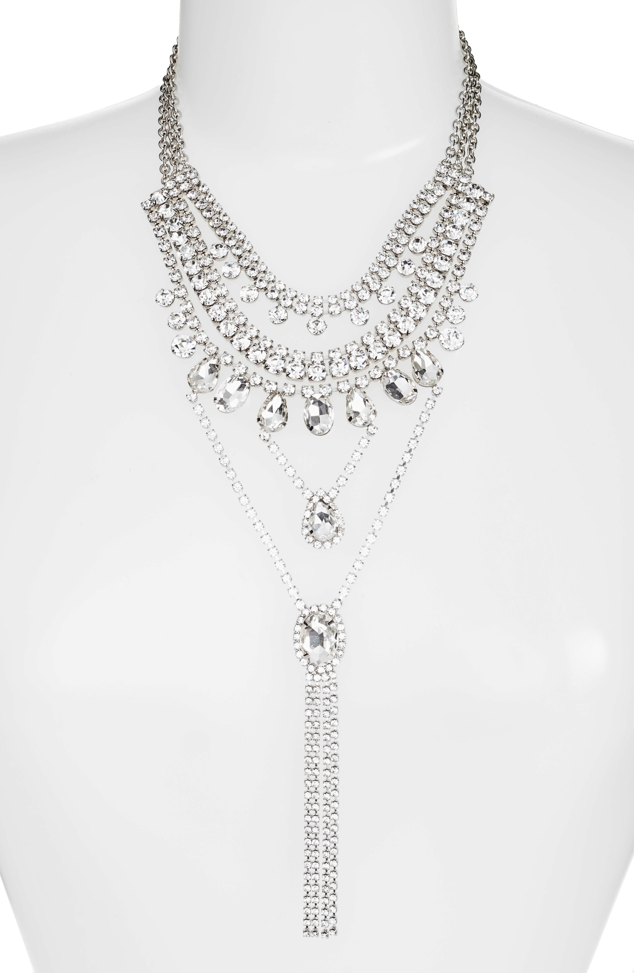 Multistrand Crystal Necklace,                             Alternate thumbnail 2, color,                             SILVER