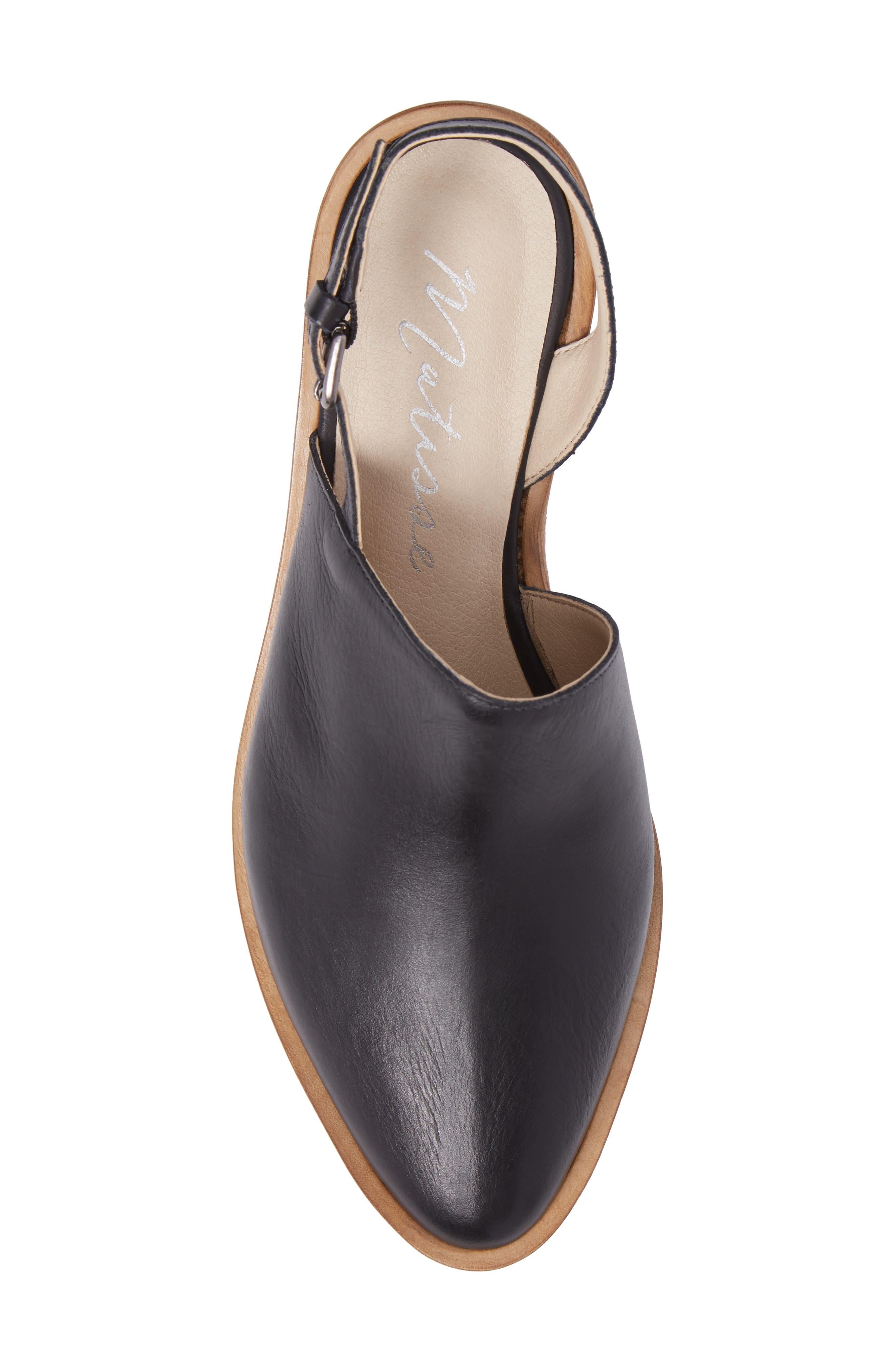 Eyals Slingback Platform Wedge Sandal,                             Alternate thumbnail 5, color,                             BLACK LEATHER