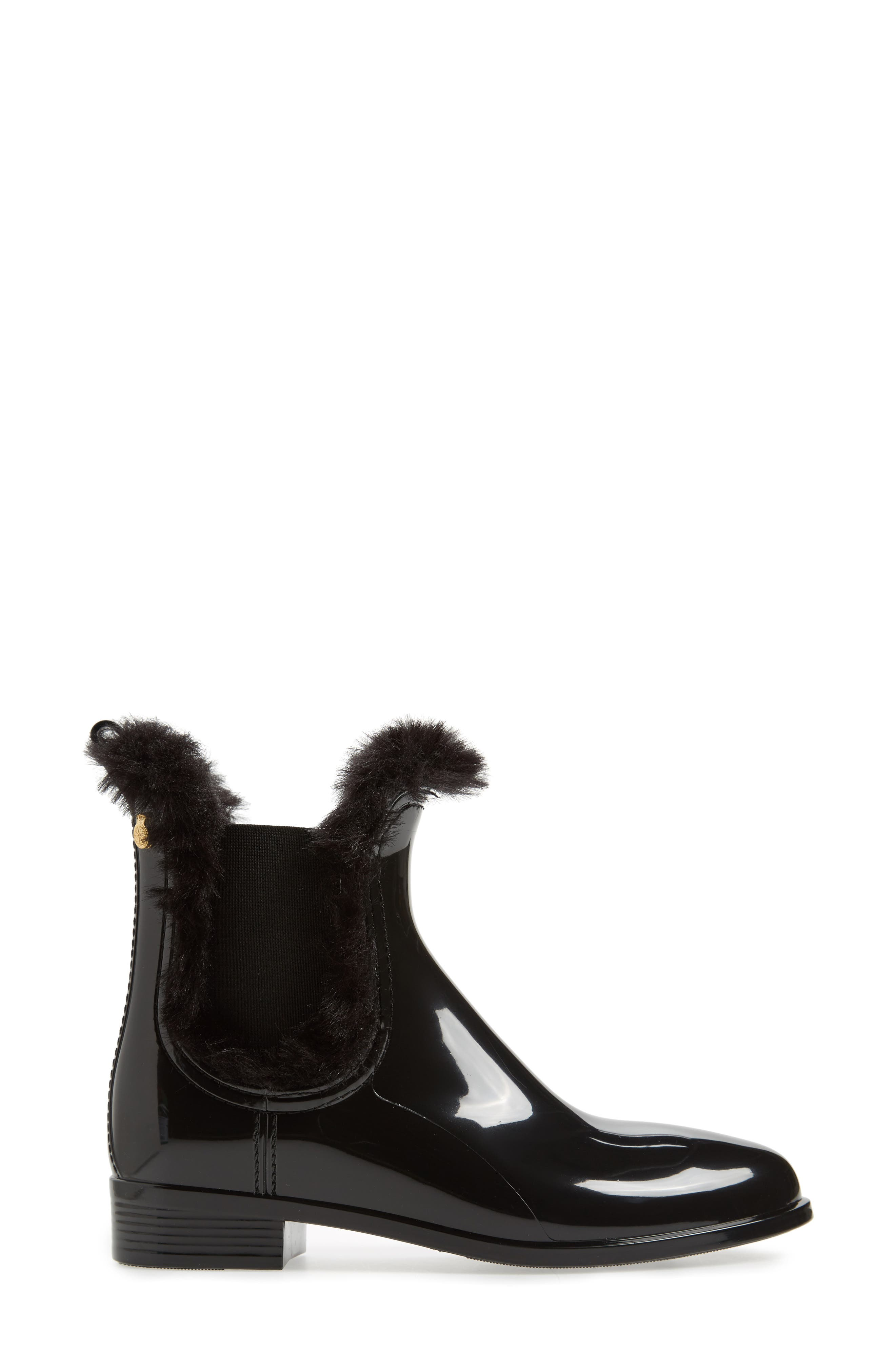 Aisha Waterproof Chelsea Boot with Faux Fur Lining,                             Alternate thumbnail 3, color,                             BLACK GLOSS