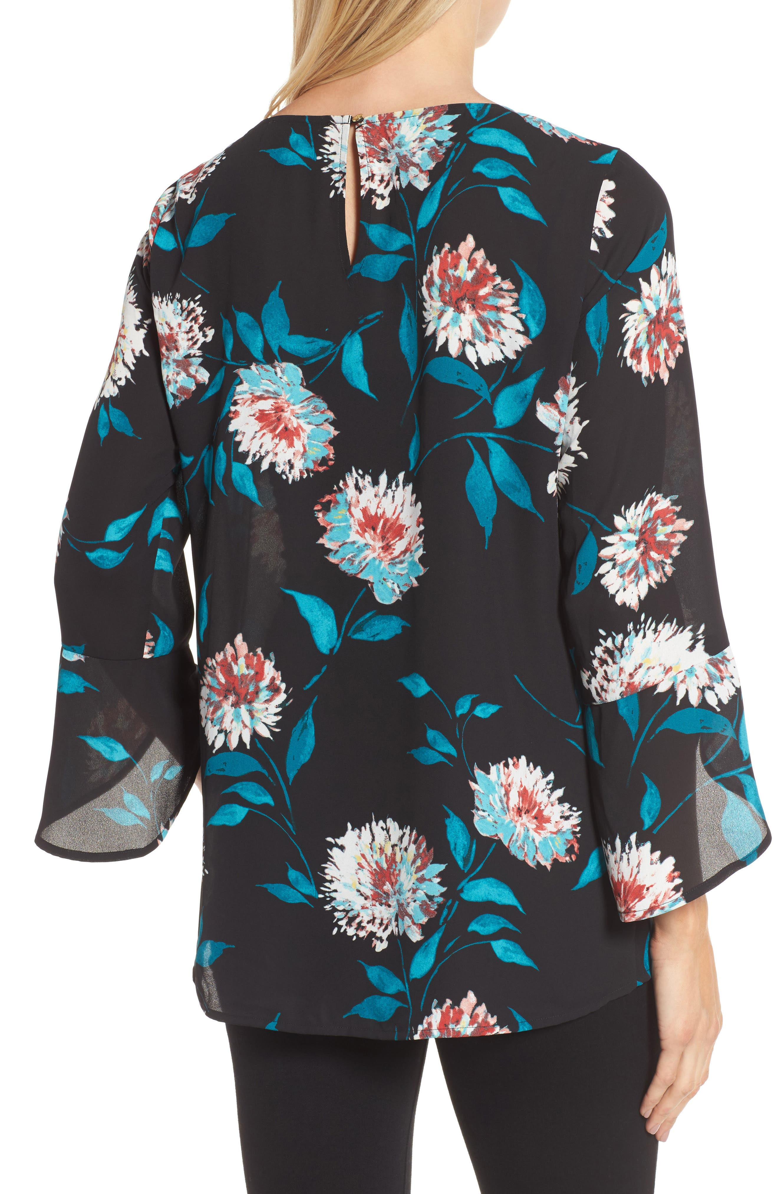 Kyoto Blossoms Bell Sleeve Blouse,                             Alternate thumbnail 2, color,                             006