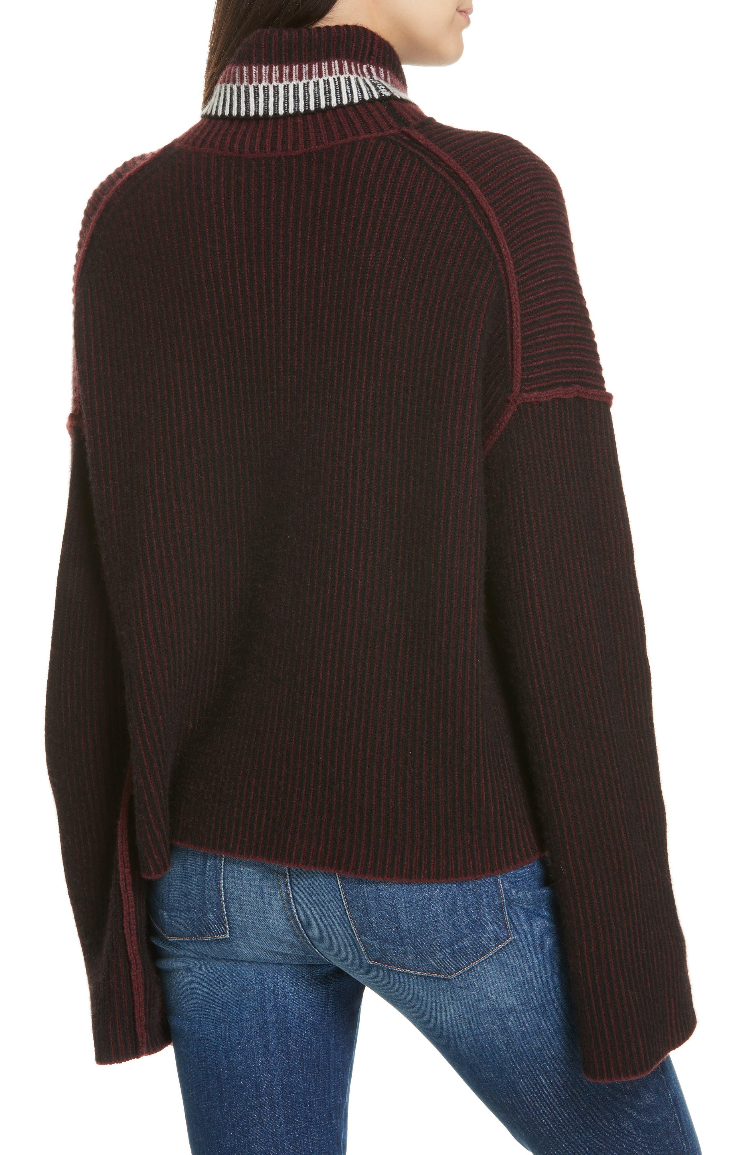 Oversize Cashmere Turtleneck Sweater,                             Alternate thumbnail 2, color,                             DARK CURRANT MIX