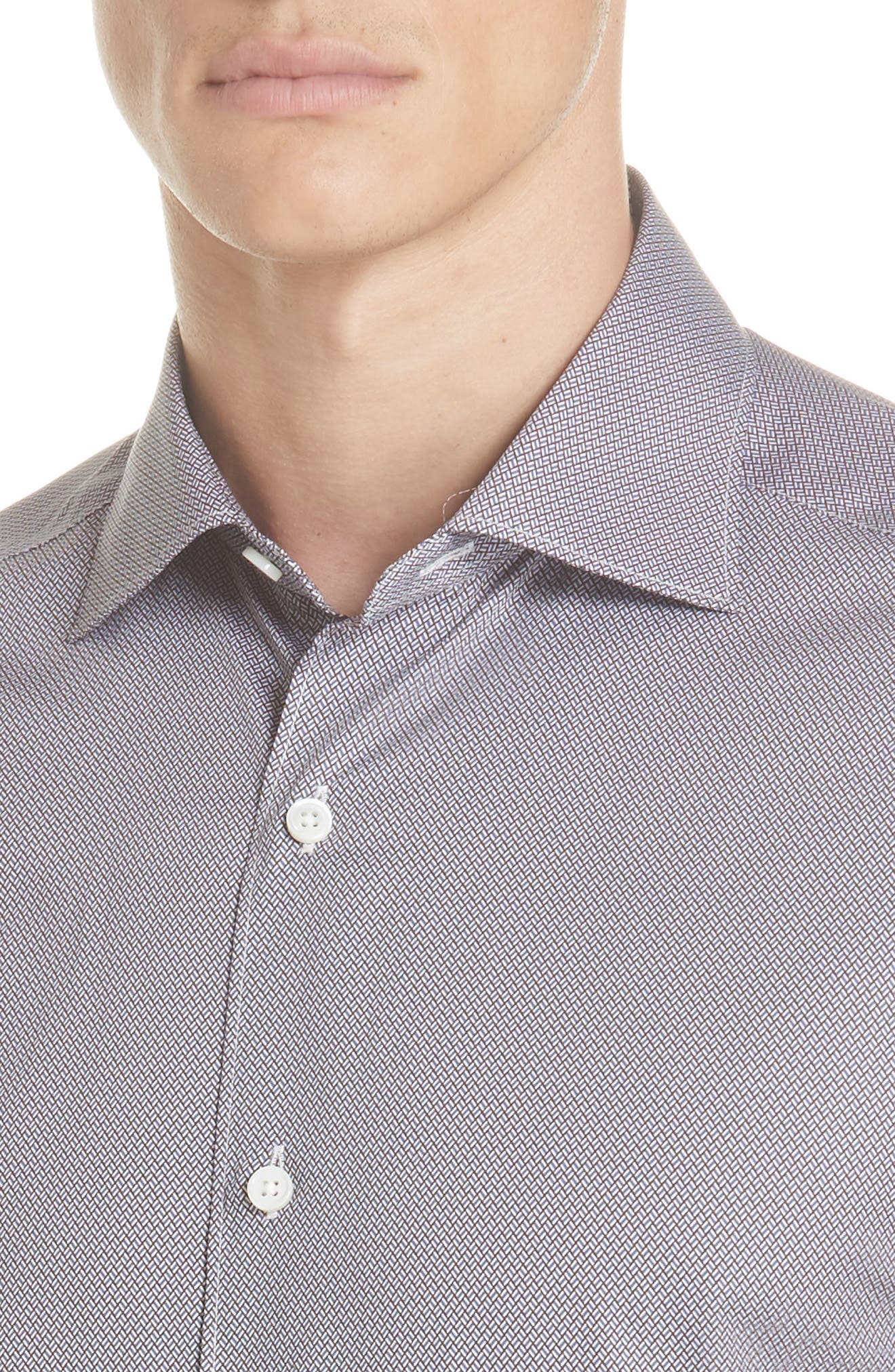 Classic Fit Geometric Sport Shirt,                             Alternate thumbnail 2, color,                             BROWN
