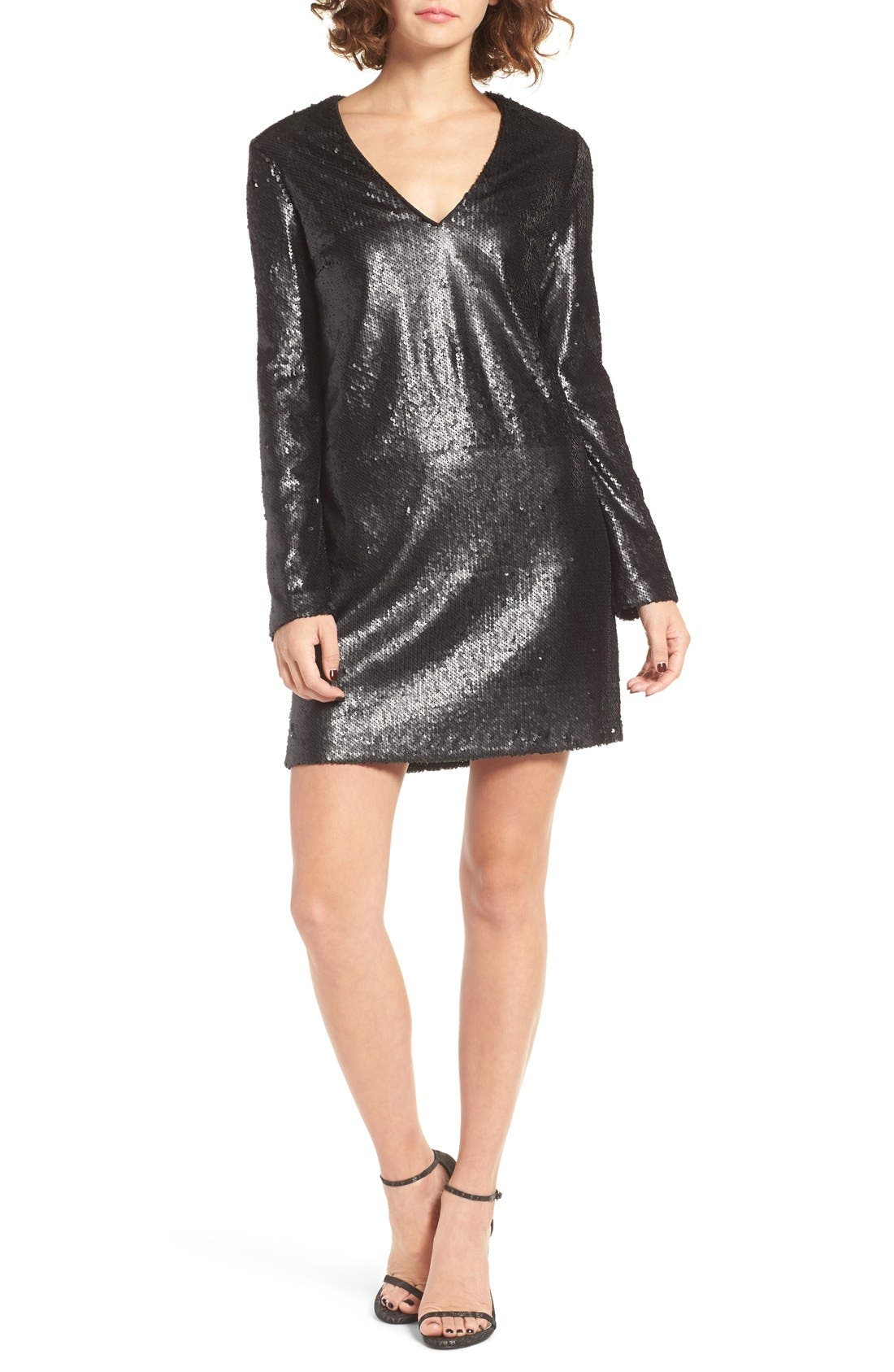 Skyline Sequin Dress, Main, color, 001