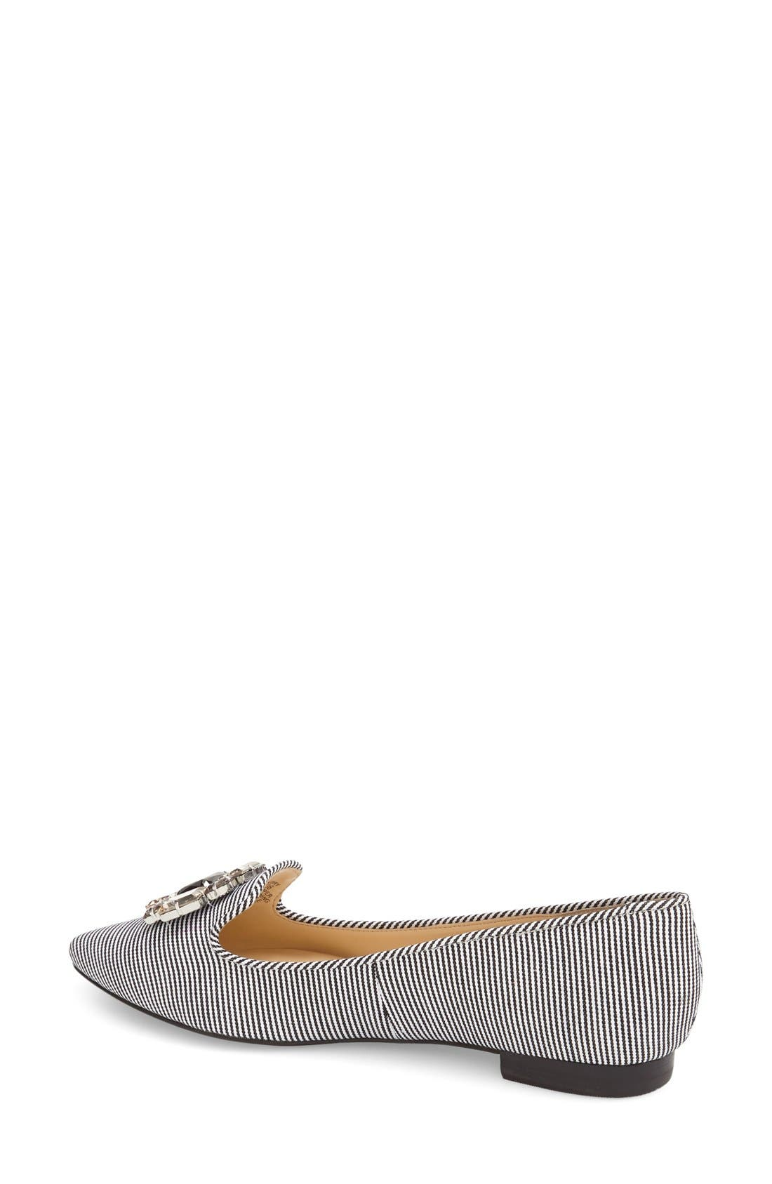 'Libry' Embellished Pointy Toe Flat,                             Alternate thumbnail 3, color,                             001