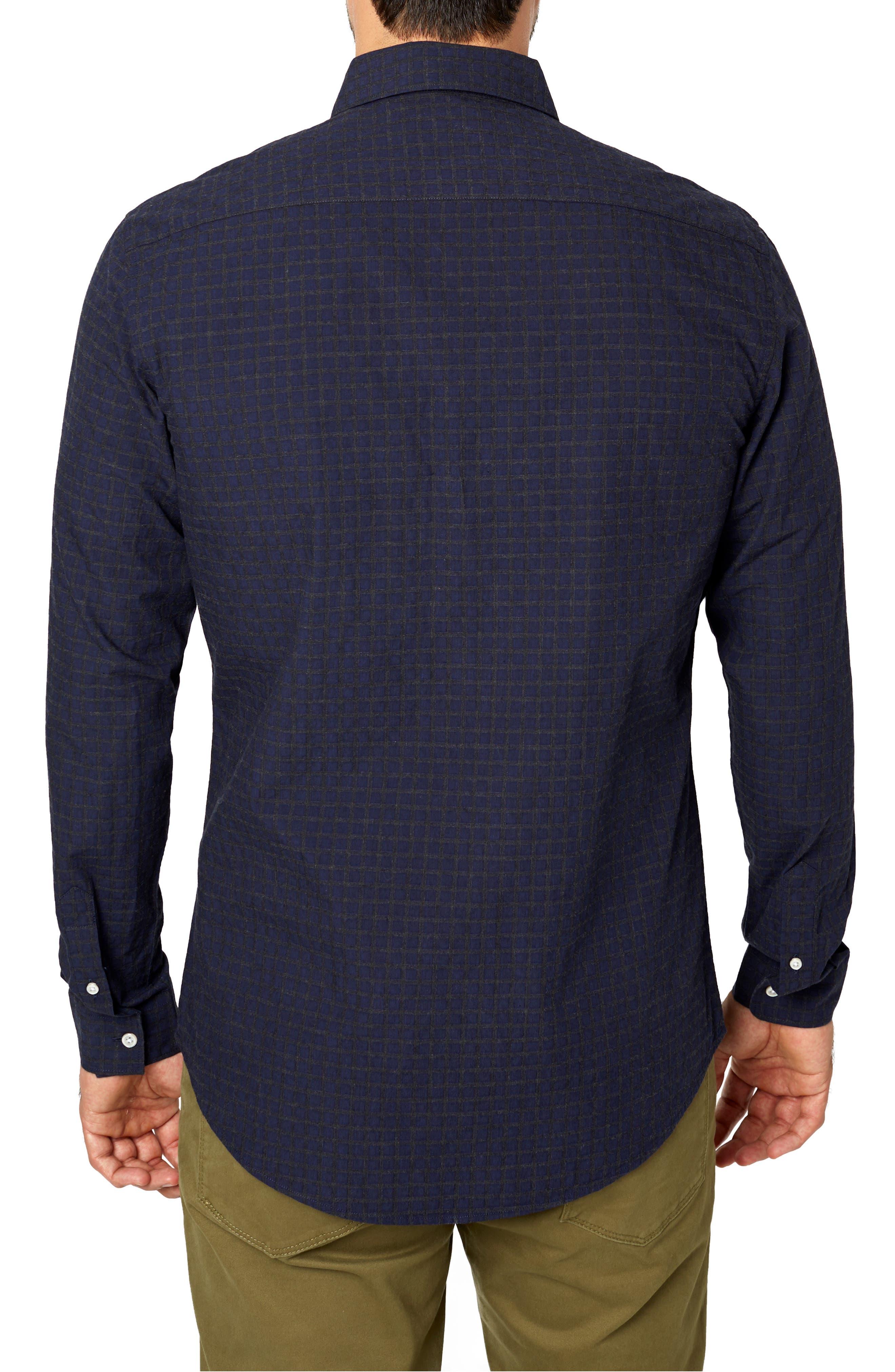 Players Club Trim Fit Linen Blend Sport Shirt,                             Alternate thumbnail 3, color,                             MIDNIGHT