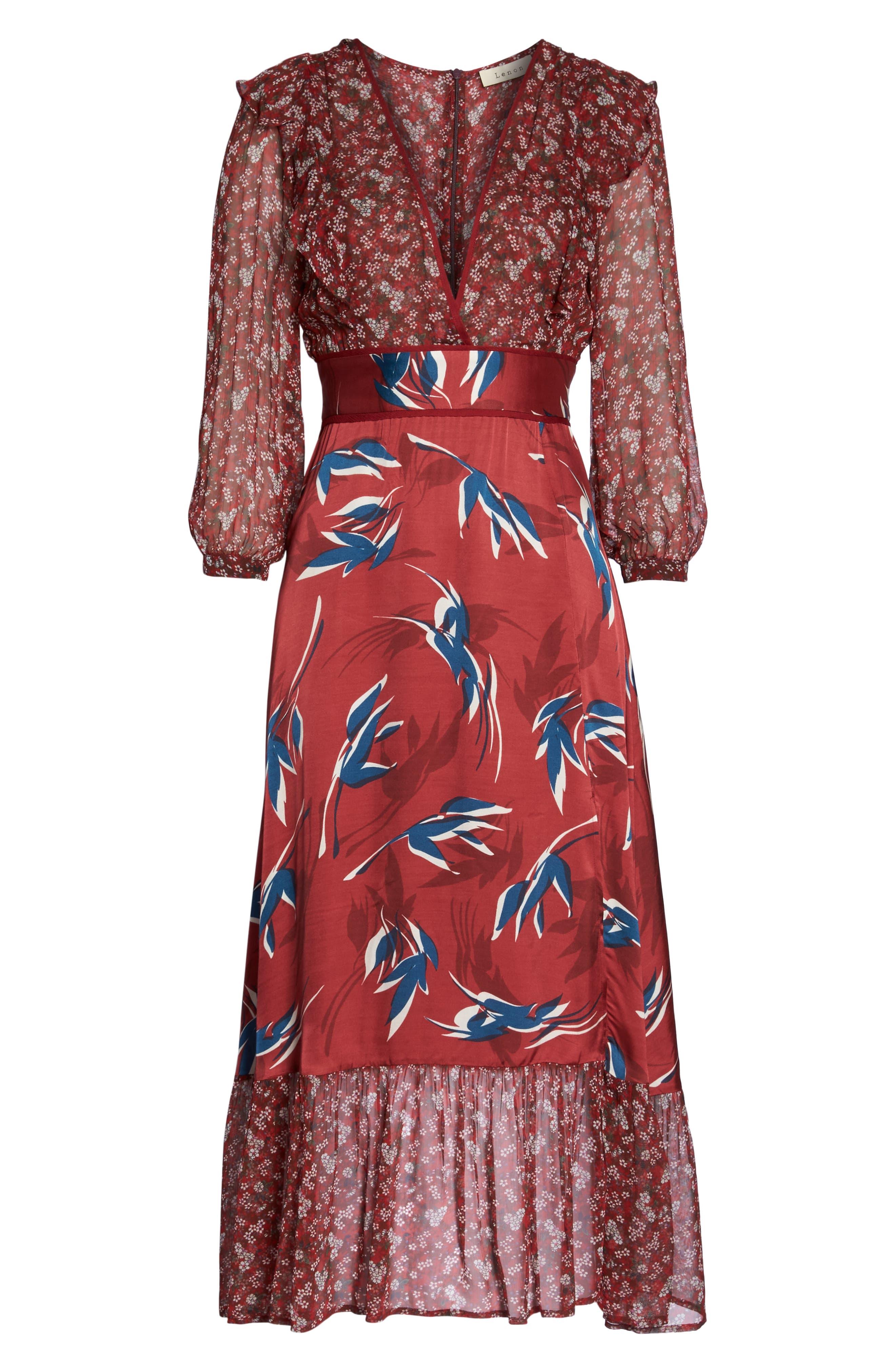 Mixed Print Midi Dress,                             Alternate thumbnail 6, color,                             RED MULTI