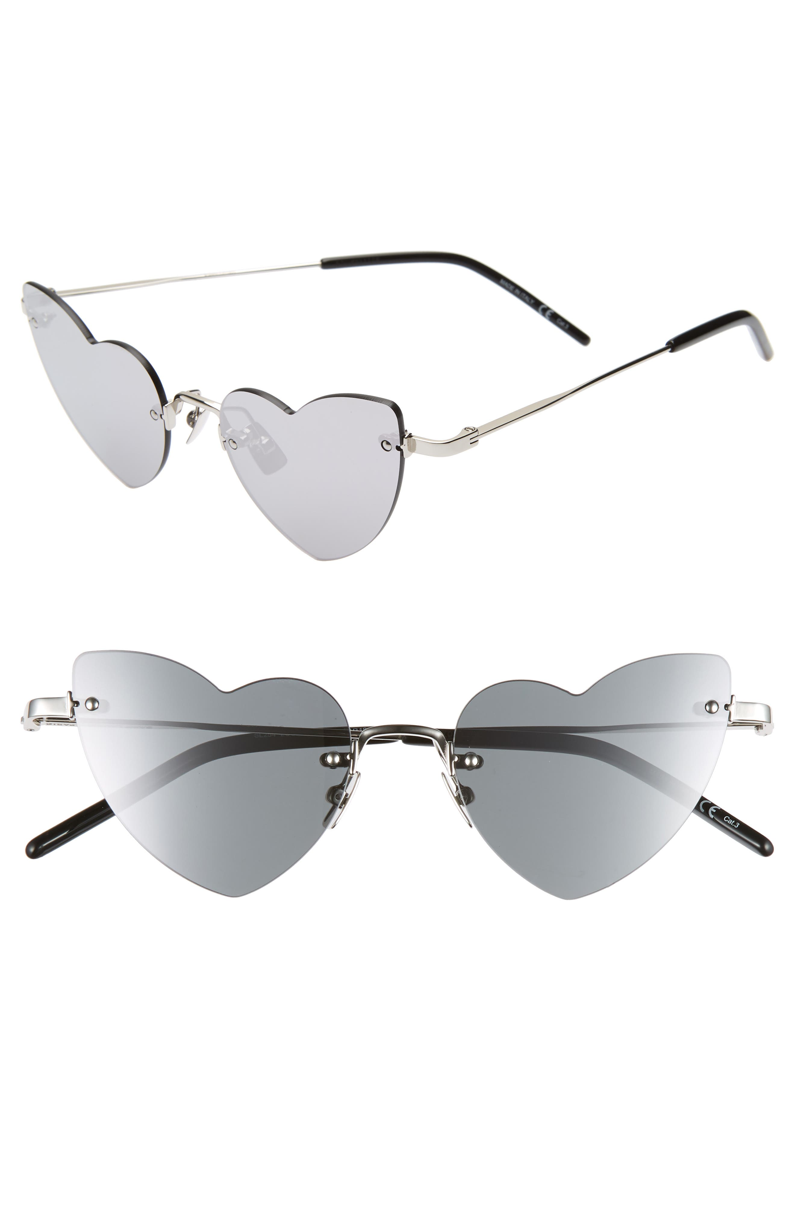 Saint Laurent 50Mm Rimless Heart Shaped Sunglasses - Silver/ Silver