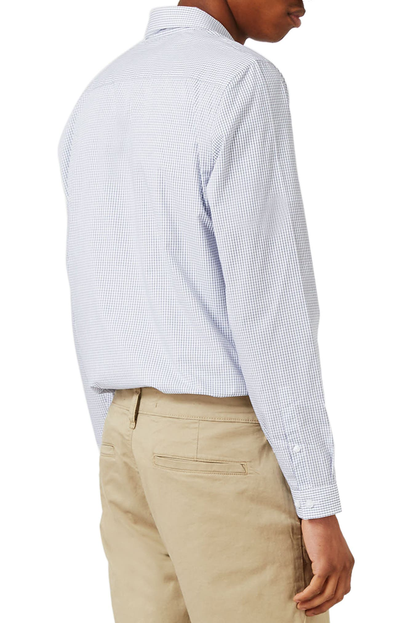 Slim Fit Grid Check Dress Shirt,                             Alternate thumbnail 3, color,                             102