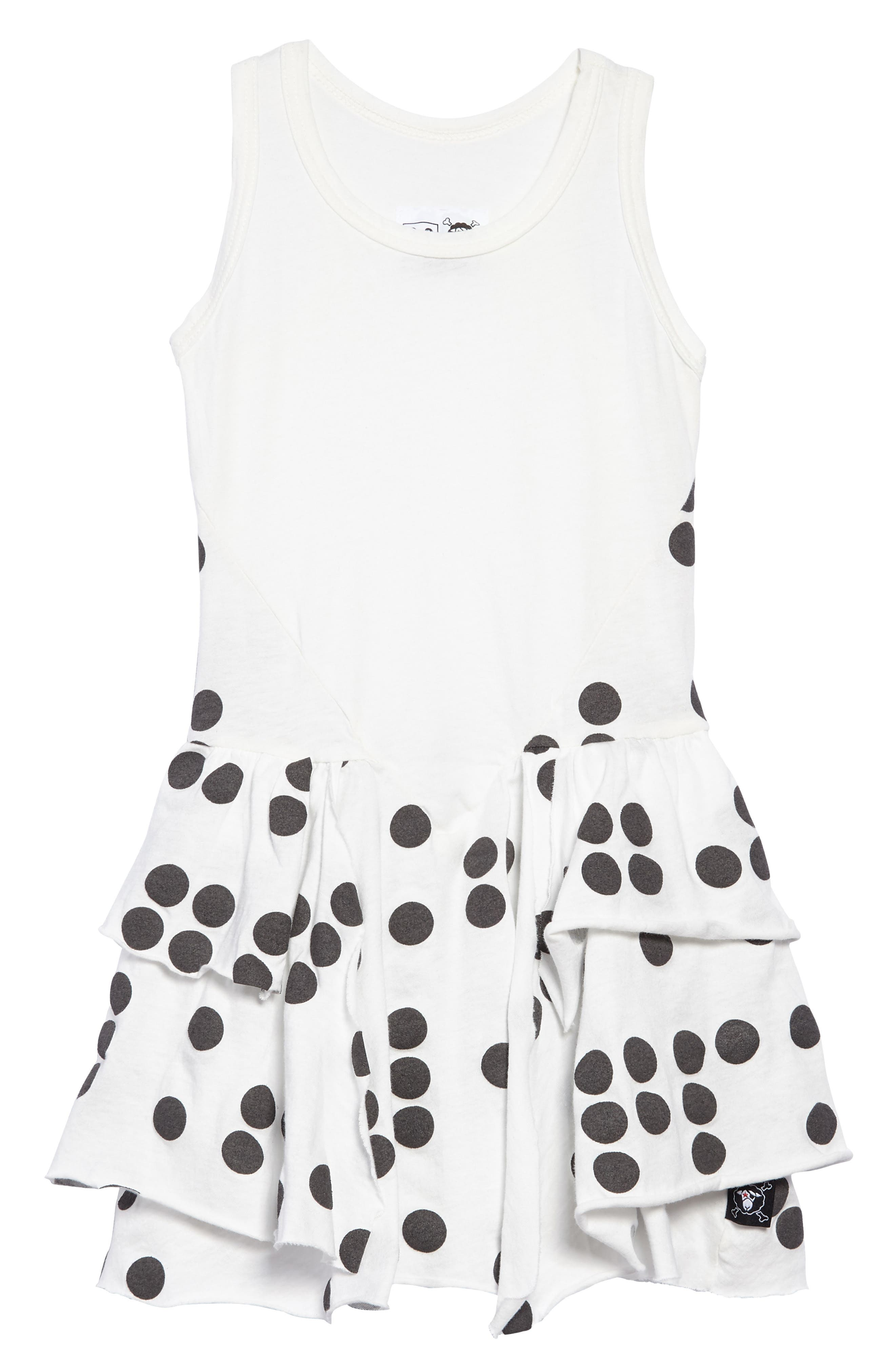 Braille Dot Layered Tank Dress,                             Main thumbnail 1, color,                             WHITE