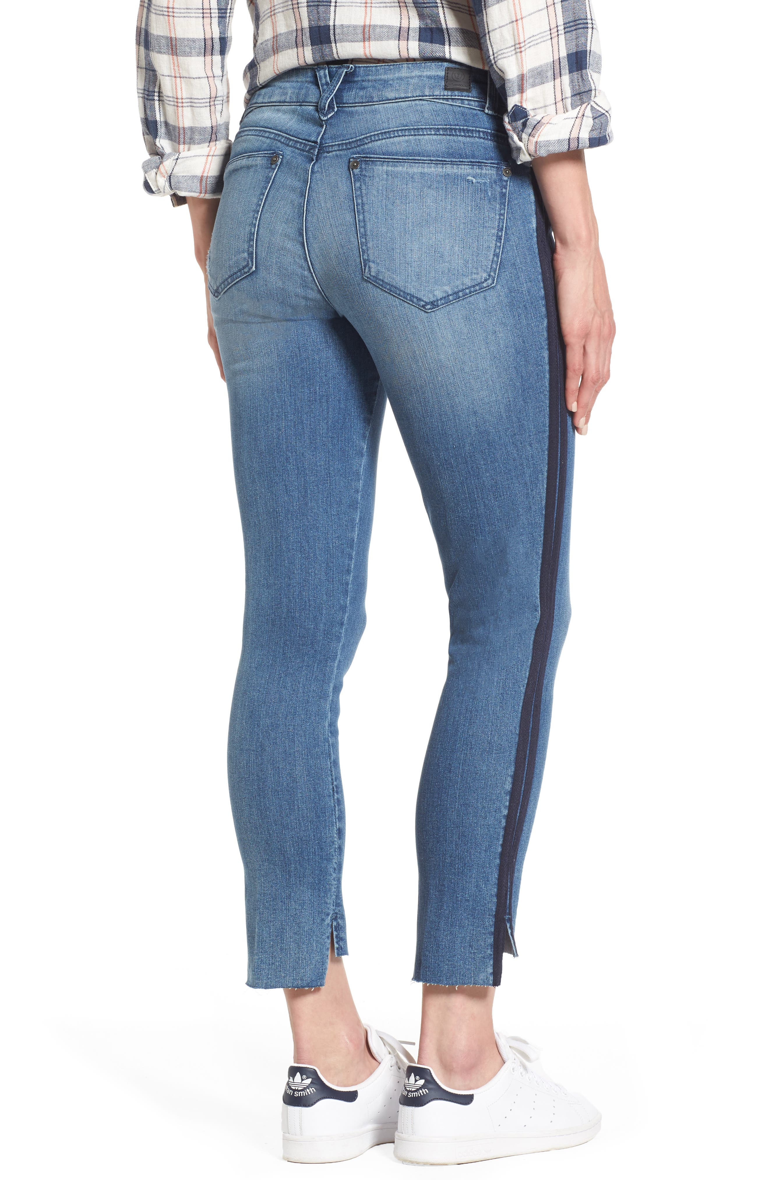 Side Stripe Ankle Jeans,                             Alternate thumbnail 2, color,