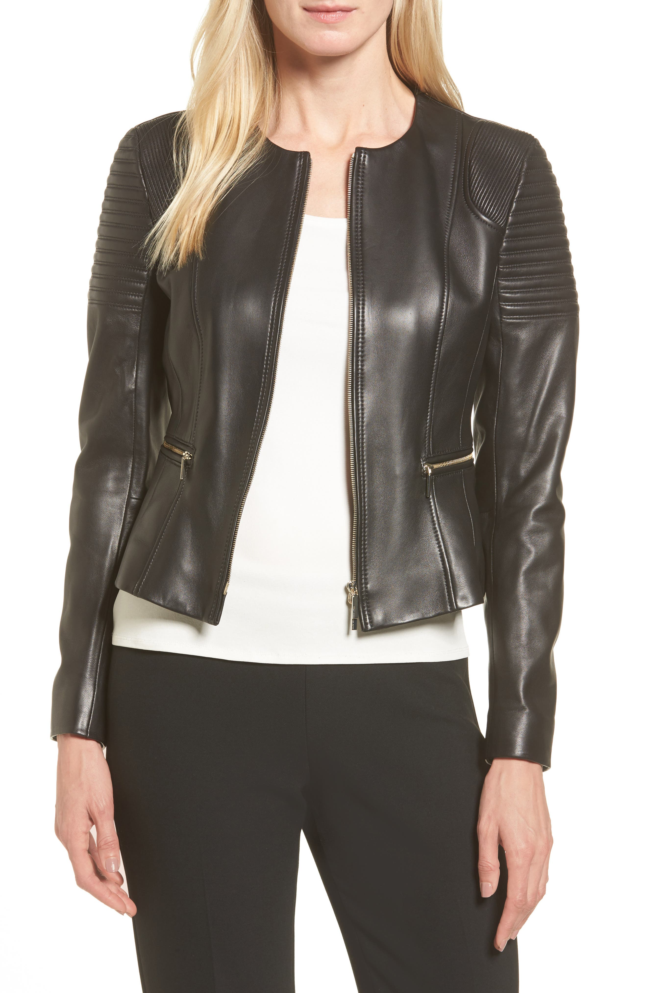 BOSS,                             Sakumaya Leather Jacket,                             Main thumbnail 1, color,                             001