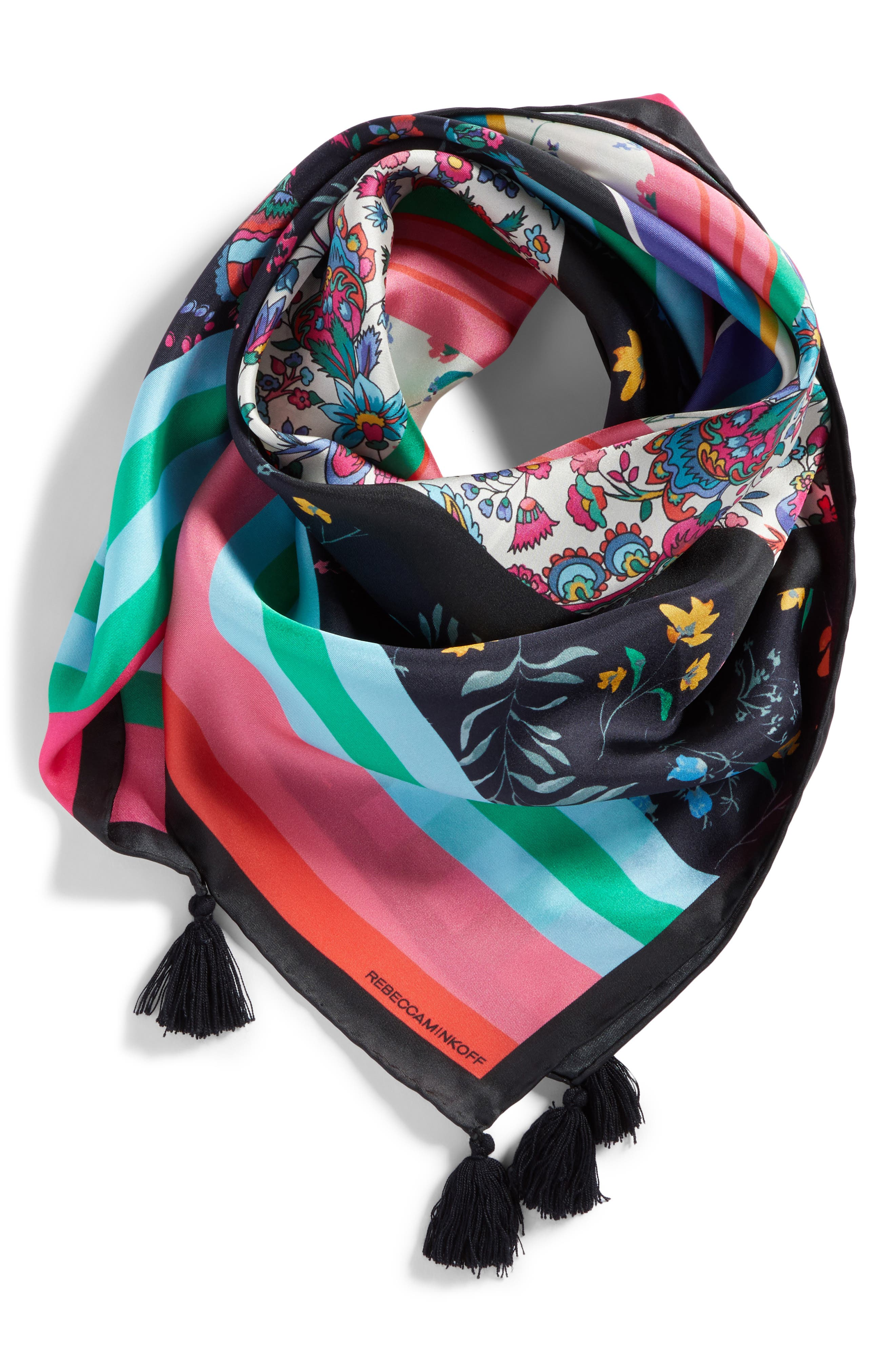 Eccentric Stripe Square Silk Scarf,                             Alternate thumbnail 2, color,                             001