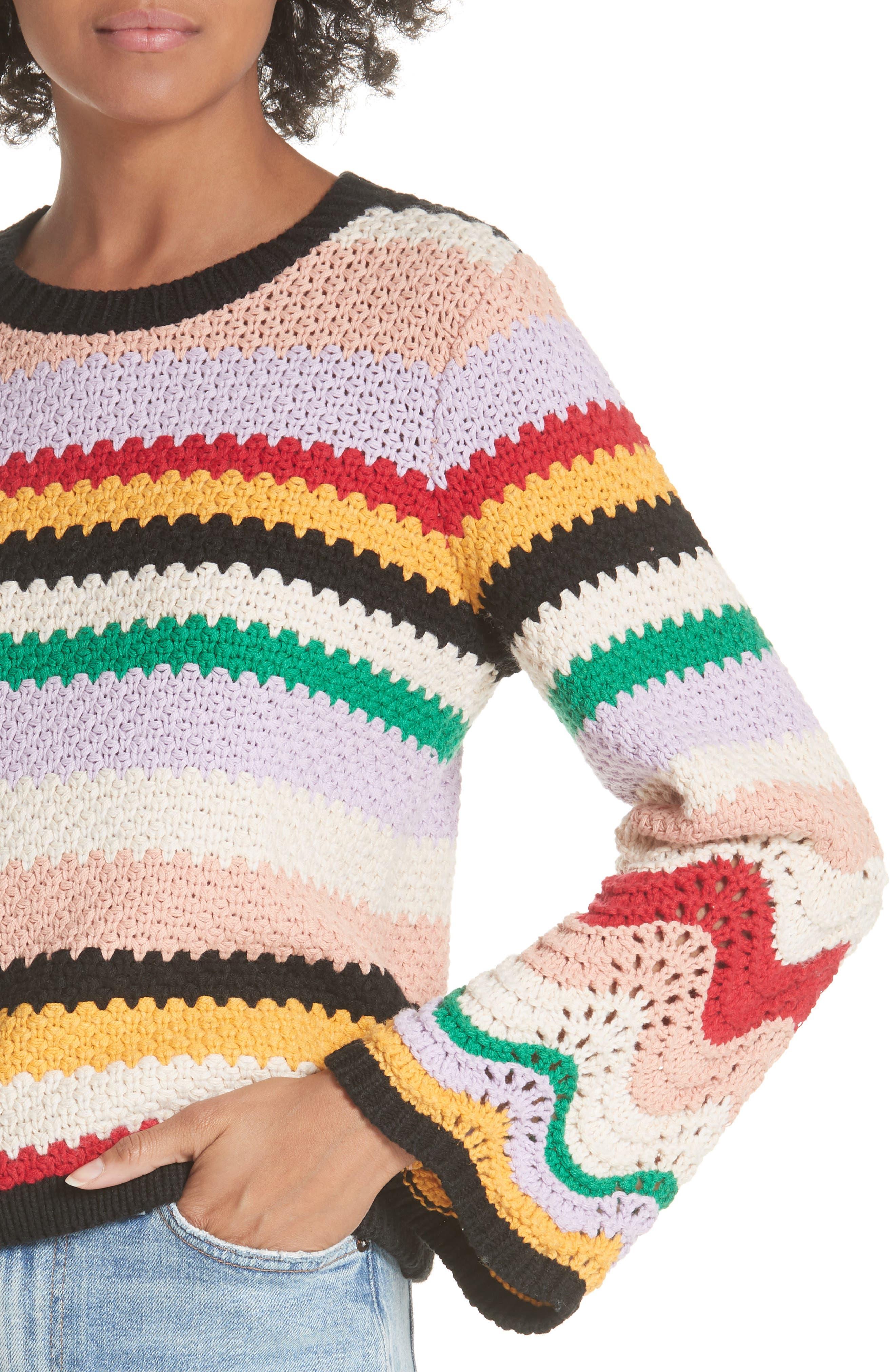 Alivia Stripe Bell Sleeve Cotton Blend Sweater,                             Alternate thumbnail 4, color,                             MULTI