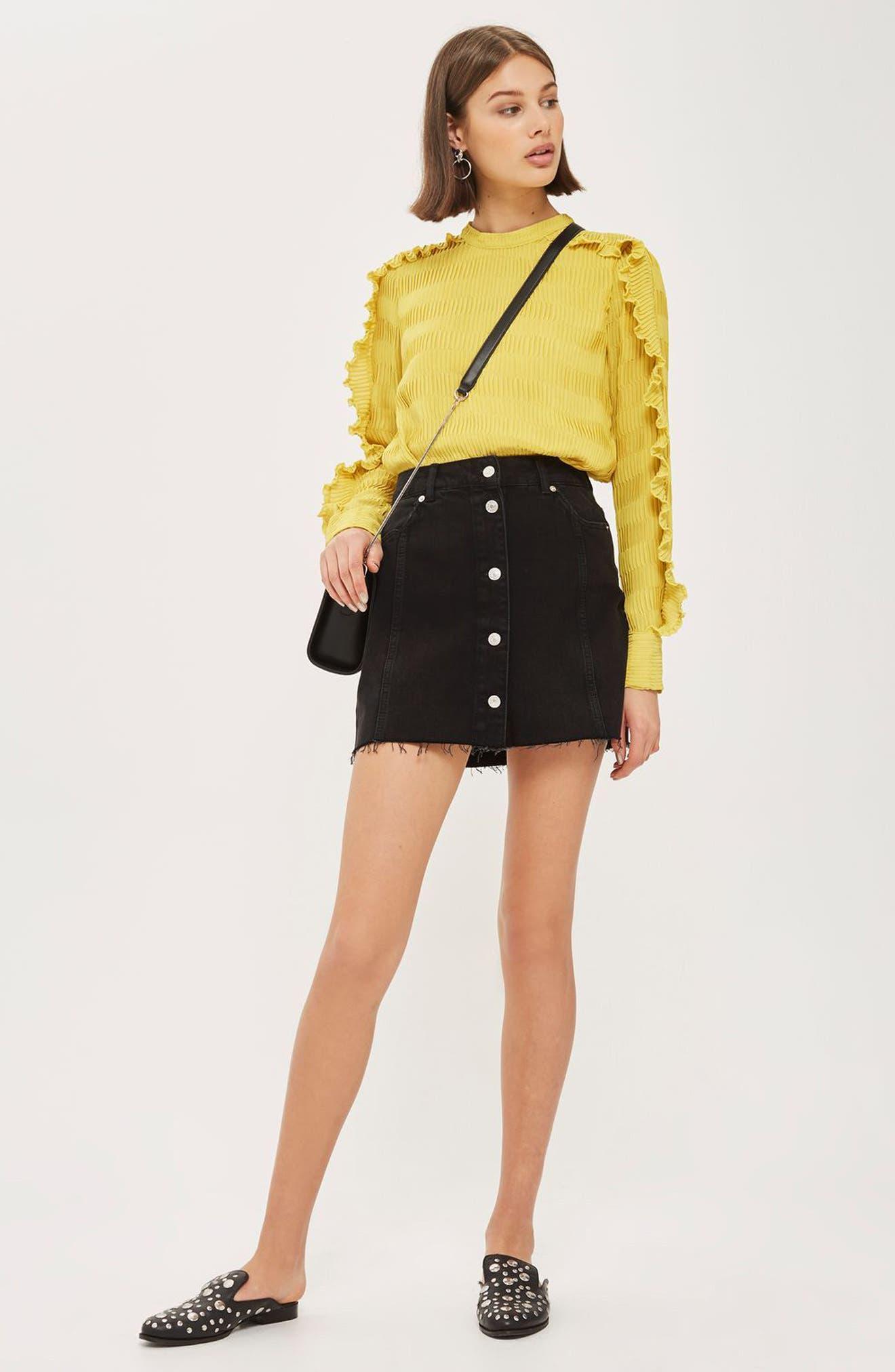 Button Denim Miniskirt,                             Alternate thumbnail 3, color,                             001