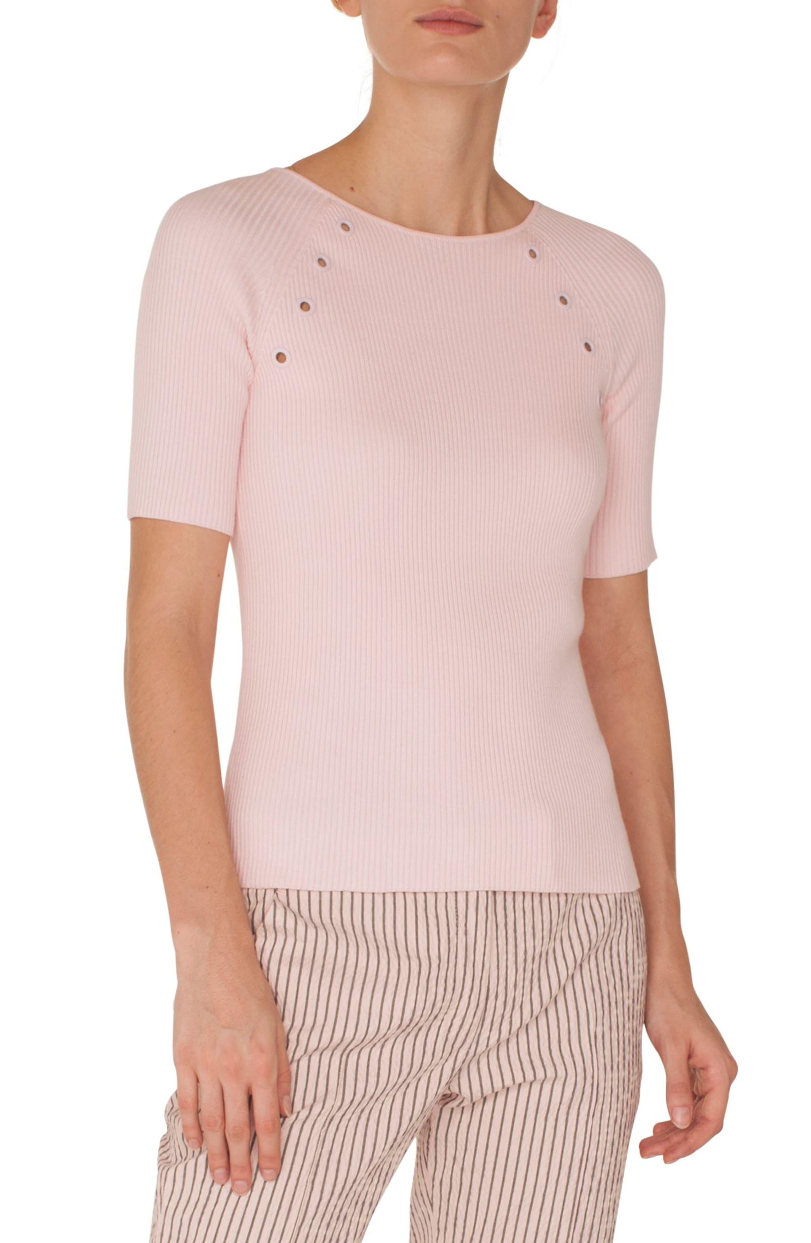 Akris Punto Grommet Detail Knit Top, Pink