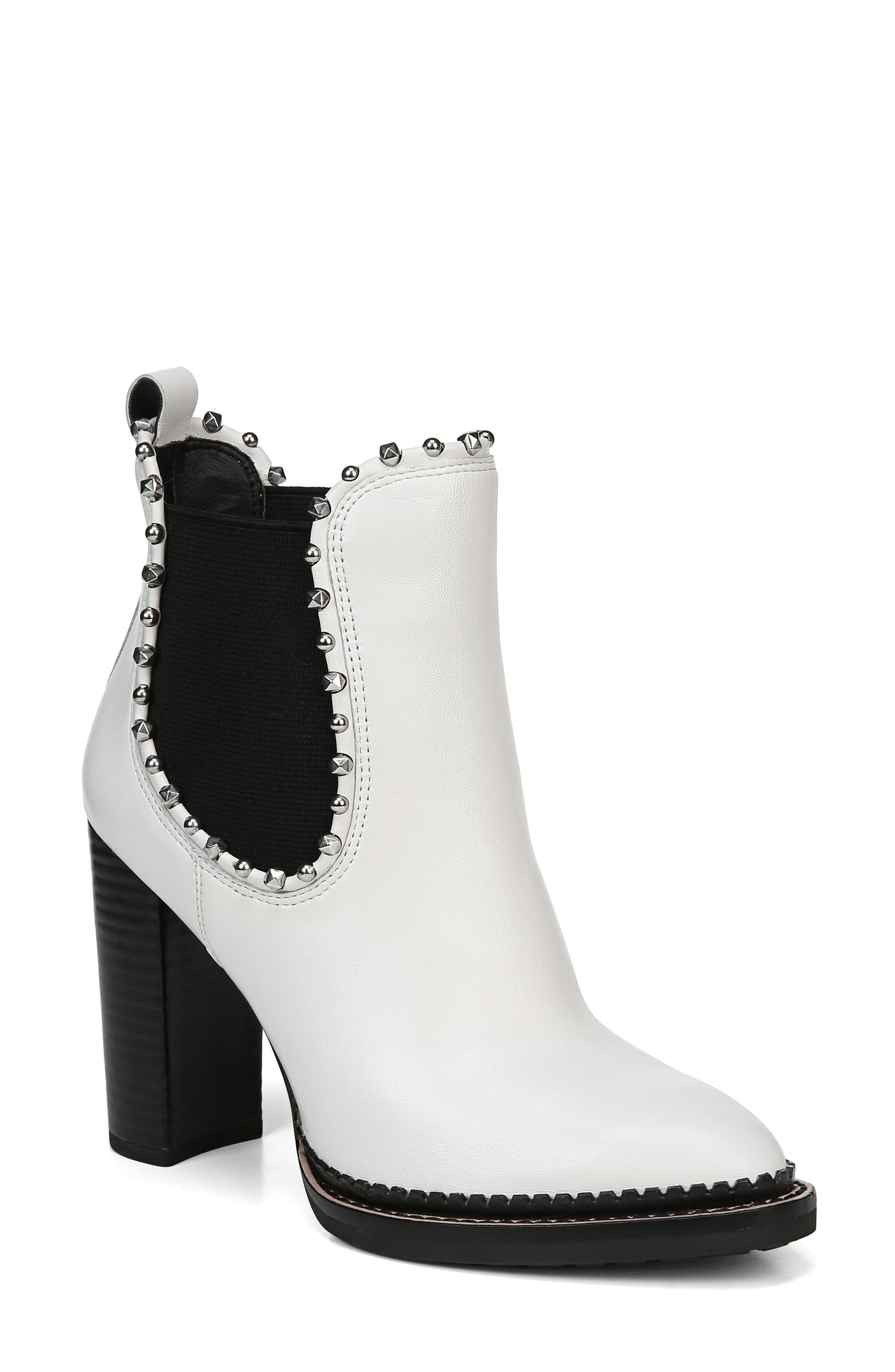 Salma Studded Chelsea Boot,                             Main thumbnail 1, color,                             BRIGHT WHITE LEATHER