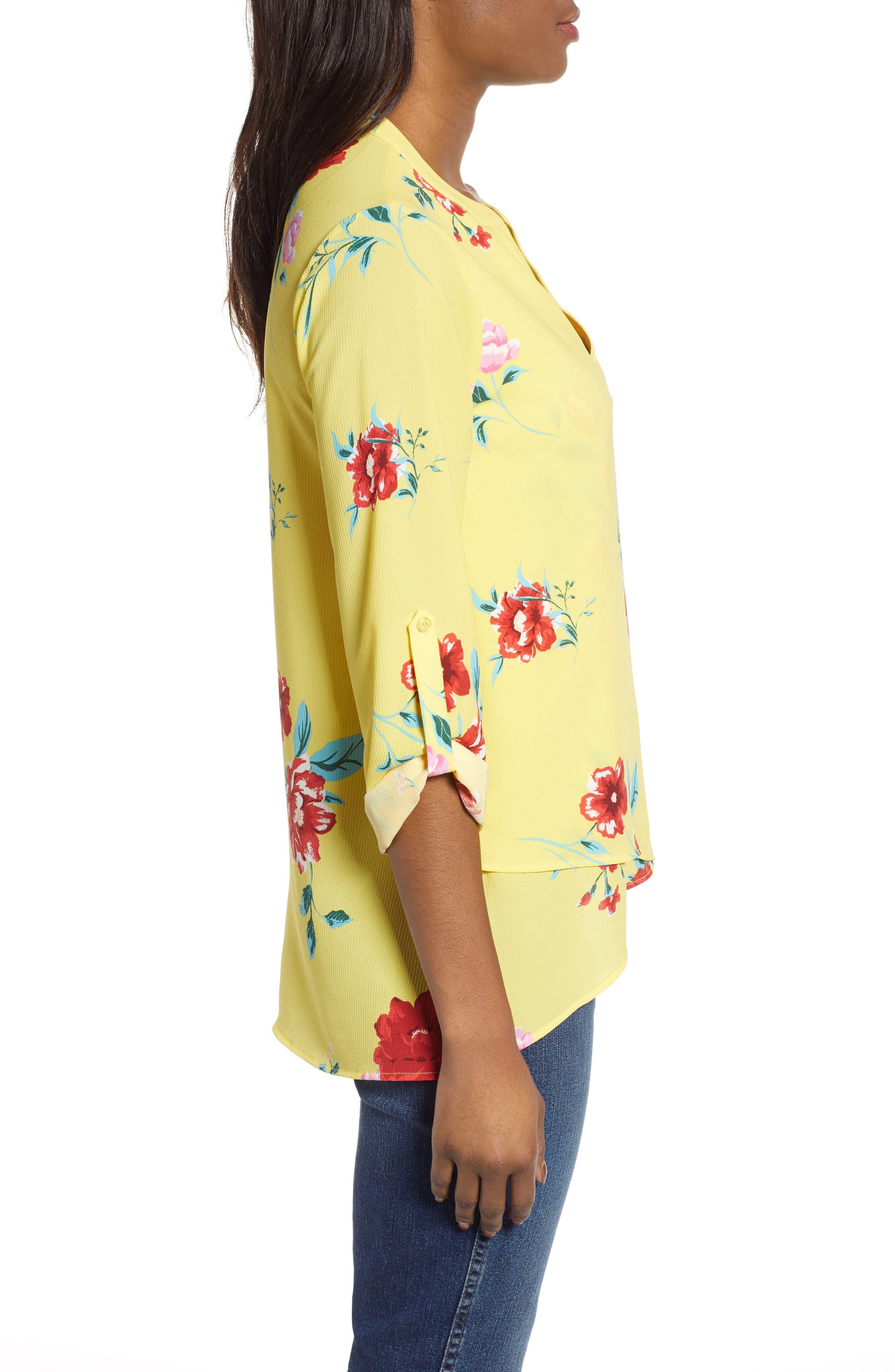 GIBSON,                             x International Women's Day Erin Cross Front Tunic Blouse,                             Alternate thumbnail 3, color,                             VIRGINIA BLOOM