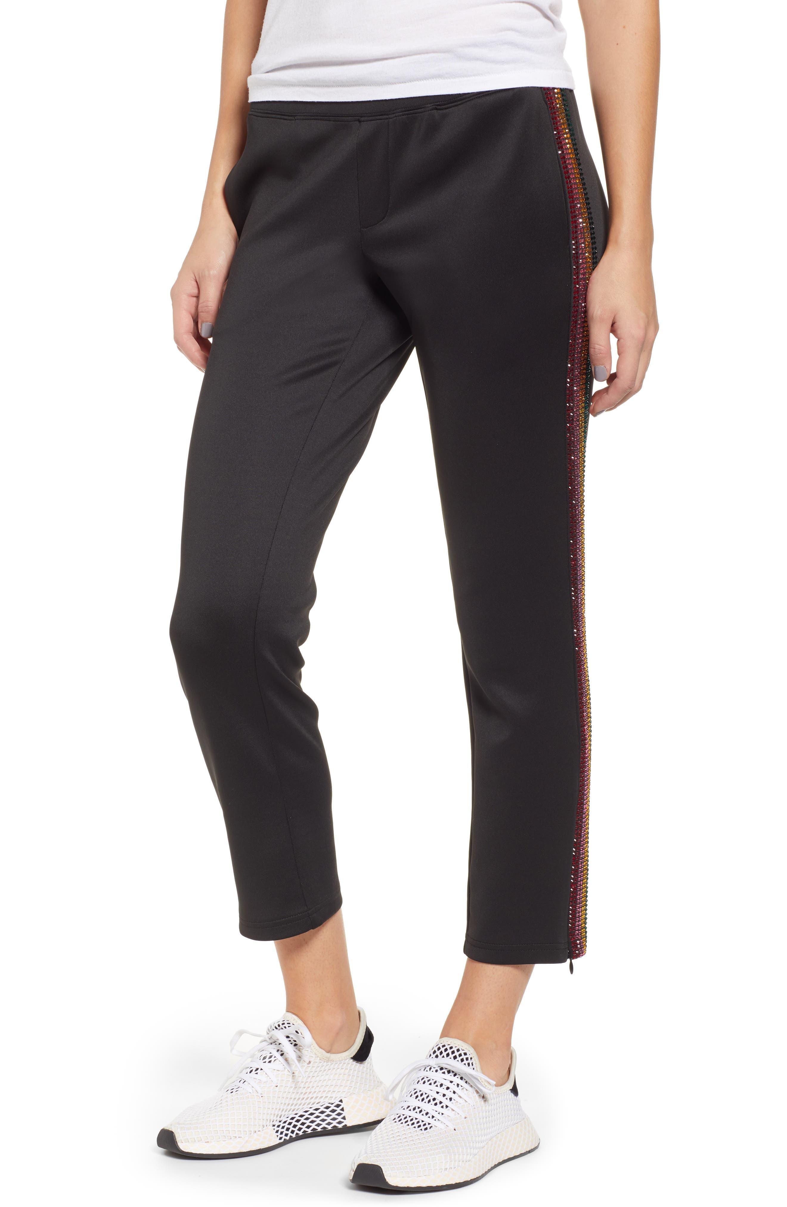 Rhinestone Track Pants,                         Main,                         color, BLACK