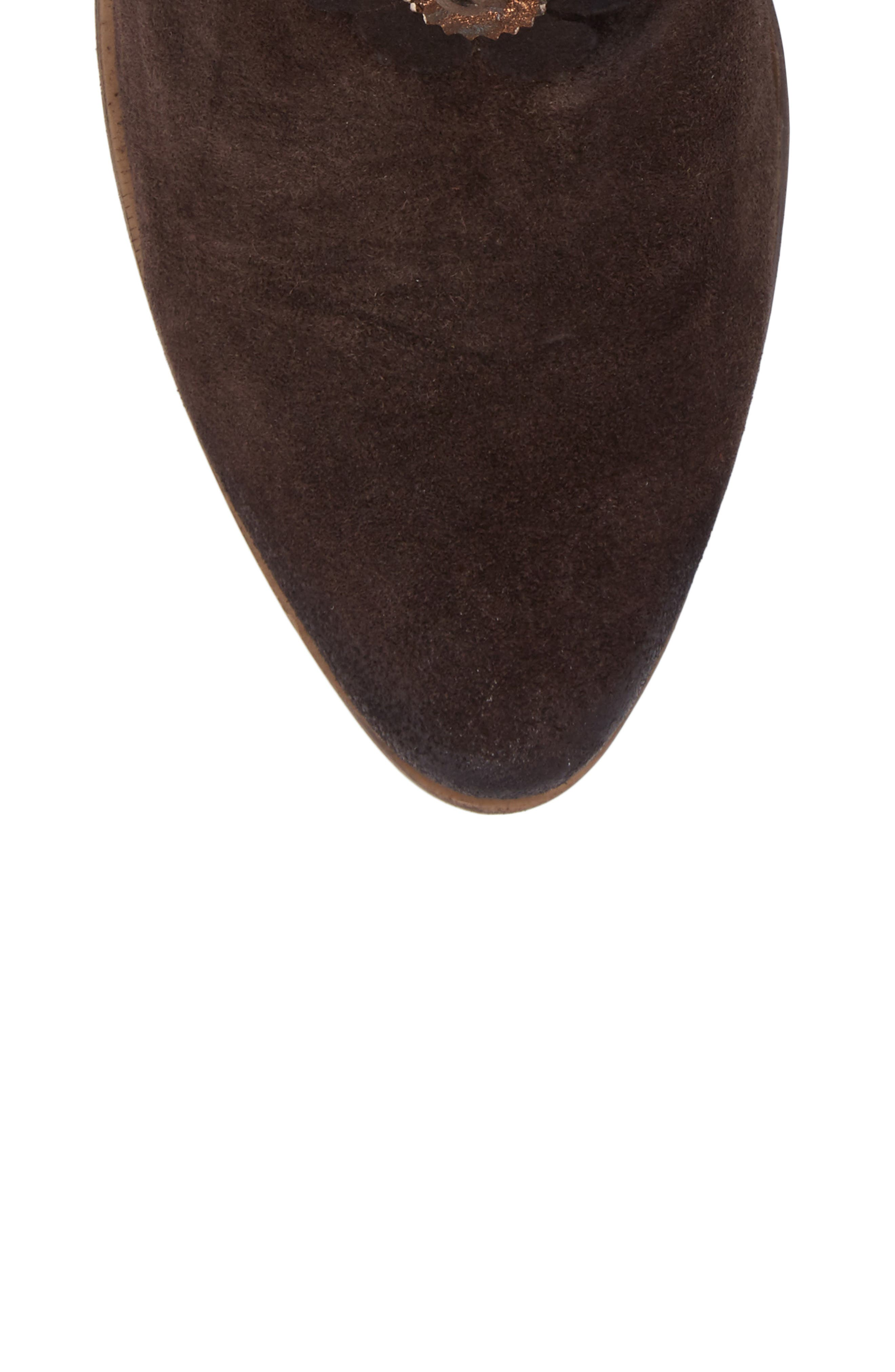 Sunflower Embellished Bootie,                             Alternate thumbnail 5, color,                             BROWN SUEDE
