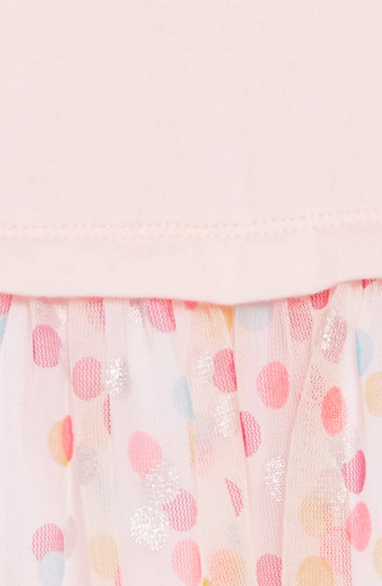 Party Time Dot Tulle Dress,                             Alternate thumbnail 3, color,                             PINK AMOUR
