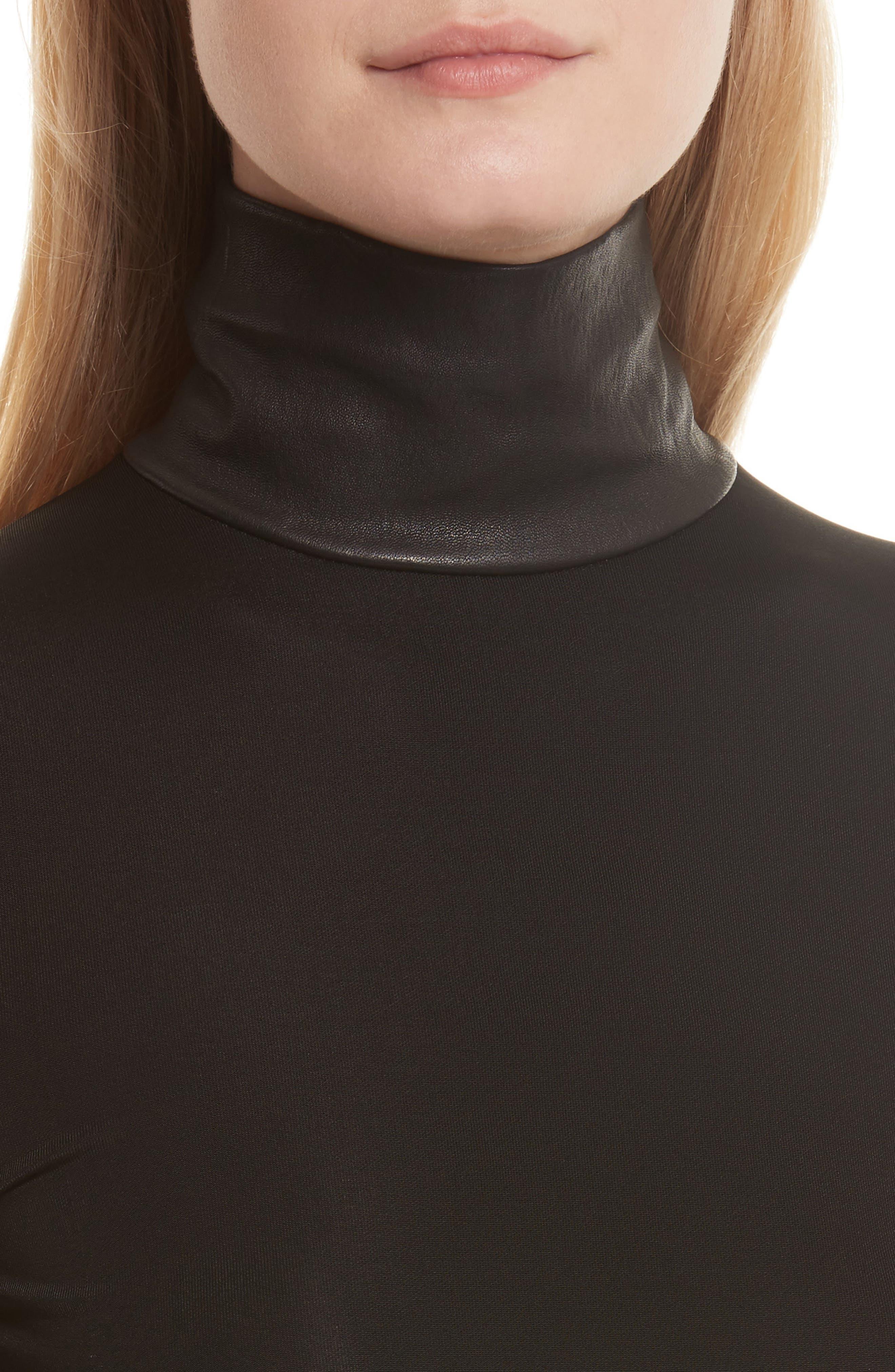 Bondage Jersey Leather Neck Top,                             Alternate thumbnail 4, color,                             001