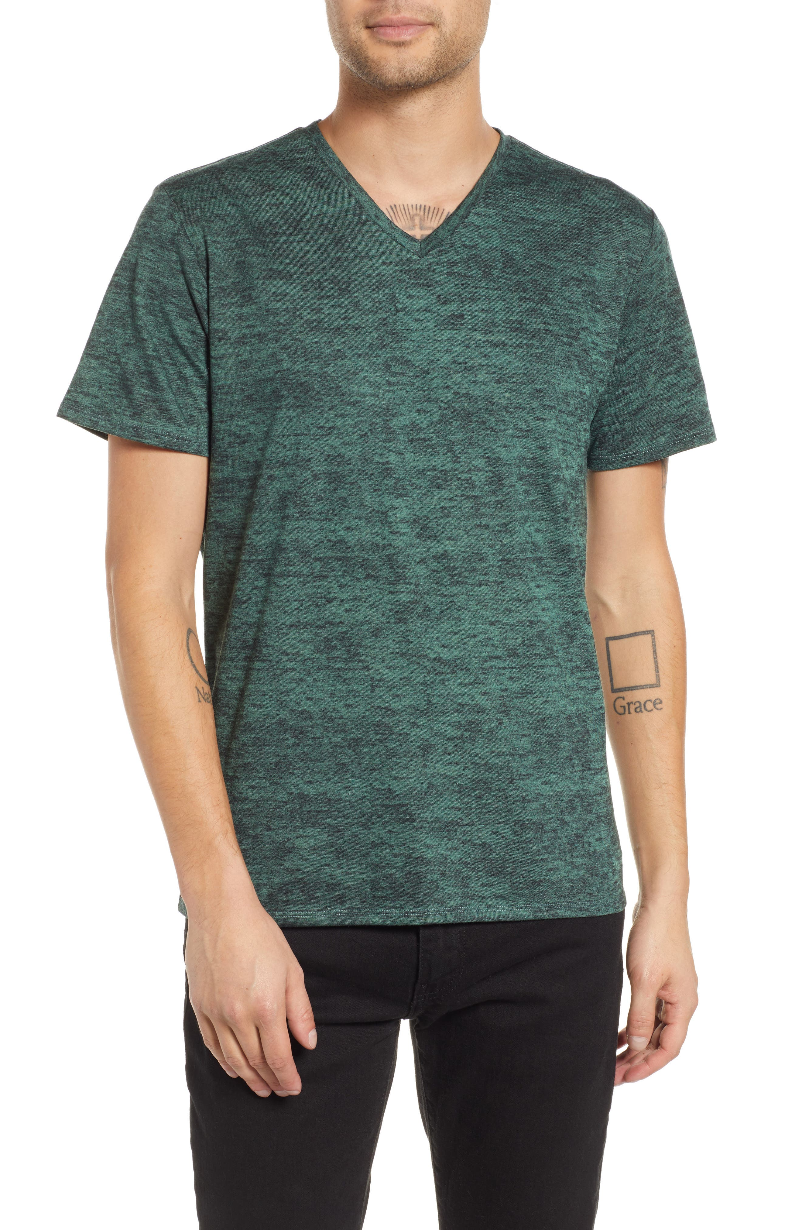 Burnout V-Neck T-Shirt,                         Main,                         color, 311