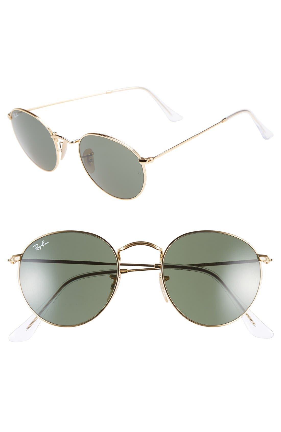 Icons 50mm Round Metal Sunglasses,                             Main thumbnail 1, color,                             GOLD/ GREEN